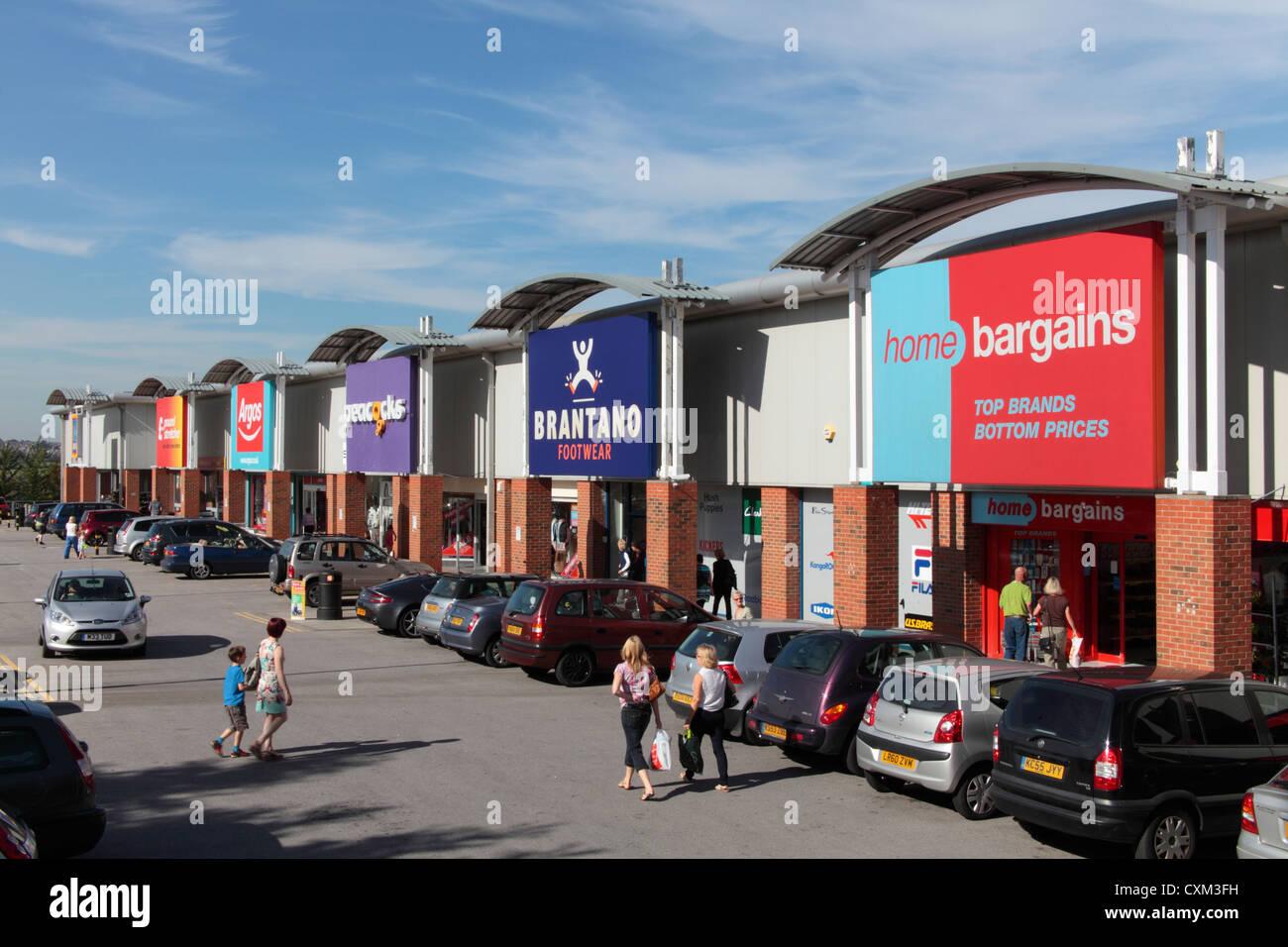 A terrace of Retail Park stores, Heanor Retai Park - Stock Image