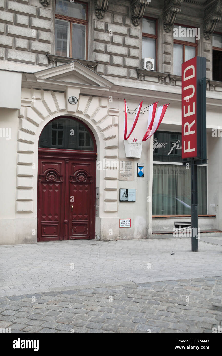 The Sigmund Freud Museum (Vienna), the former home of the founding father of psychoanalysis, Berggasse 19, Vienna, - Stock Image