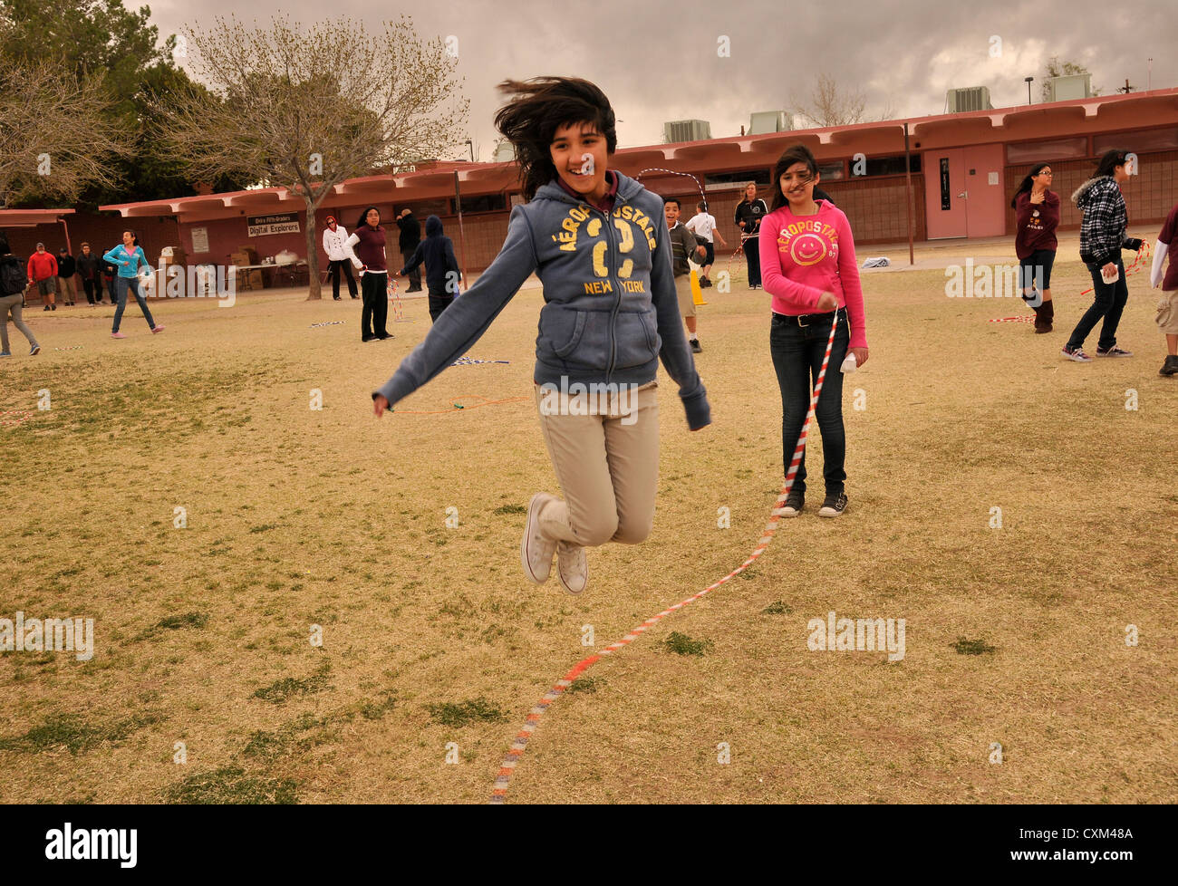 5th-graders participates in Jump Rope For Heart, a fund raising and fitness program in Tucson, Arizona, USA. - Stock Image