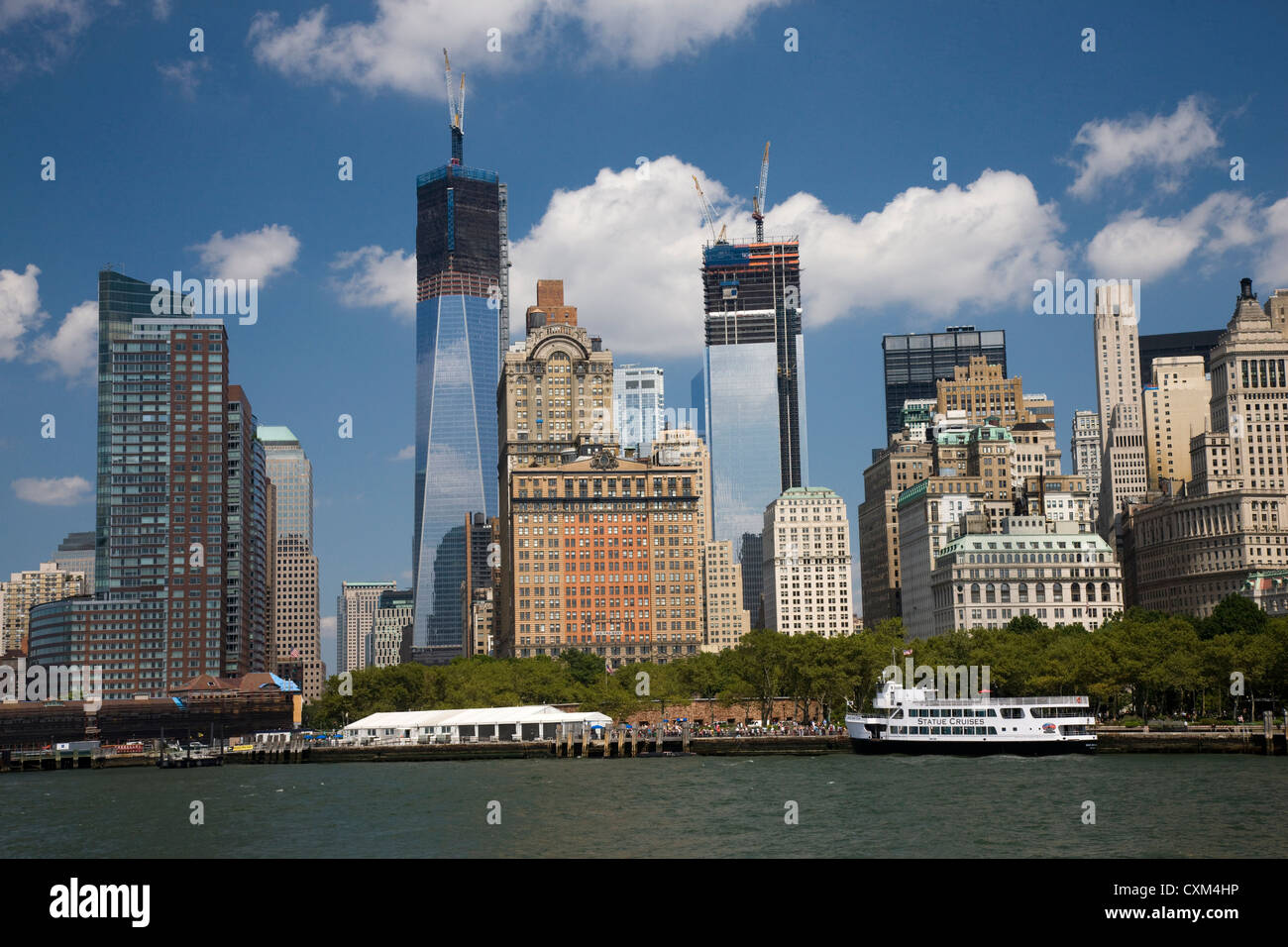 One and Two World Trade Center 1 WTC and 2 WTC, under construction in New York - Stock Image