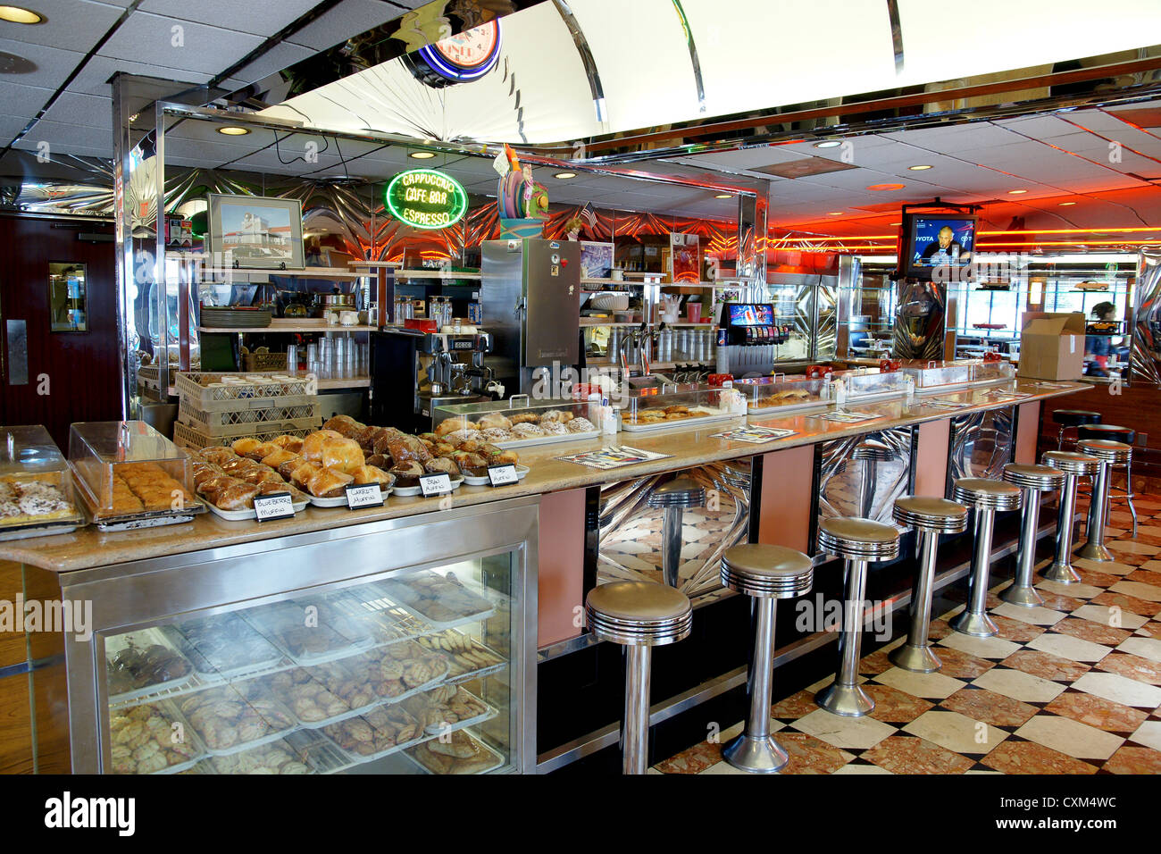 Interior counter of park west diner little falls new