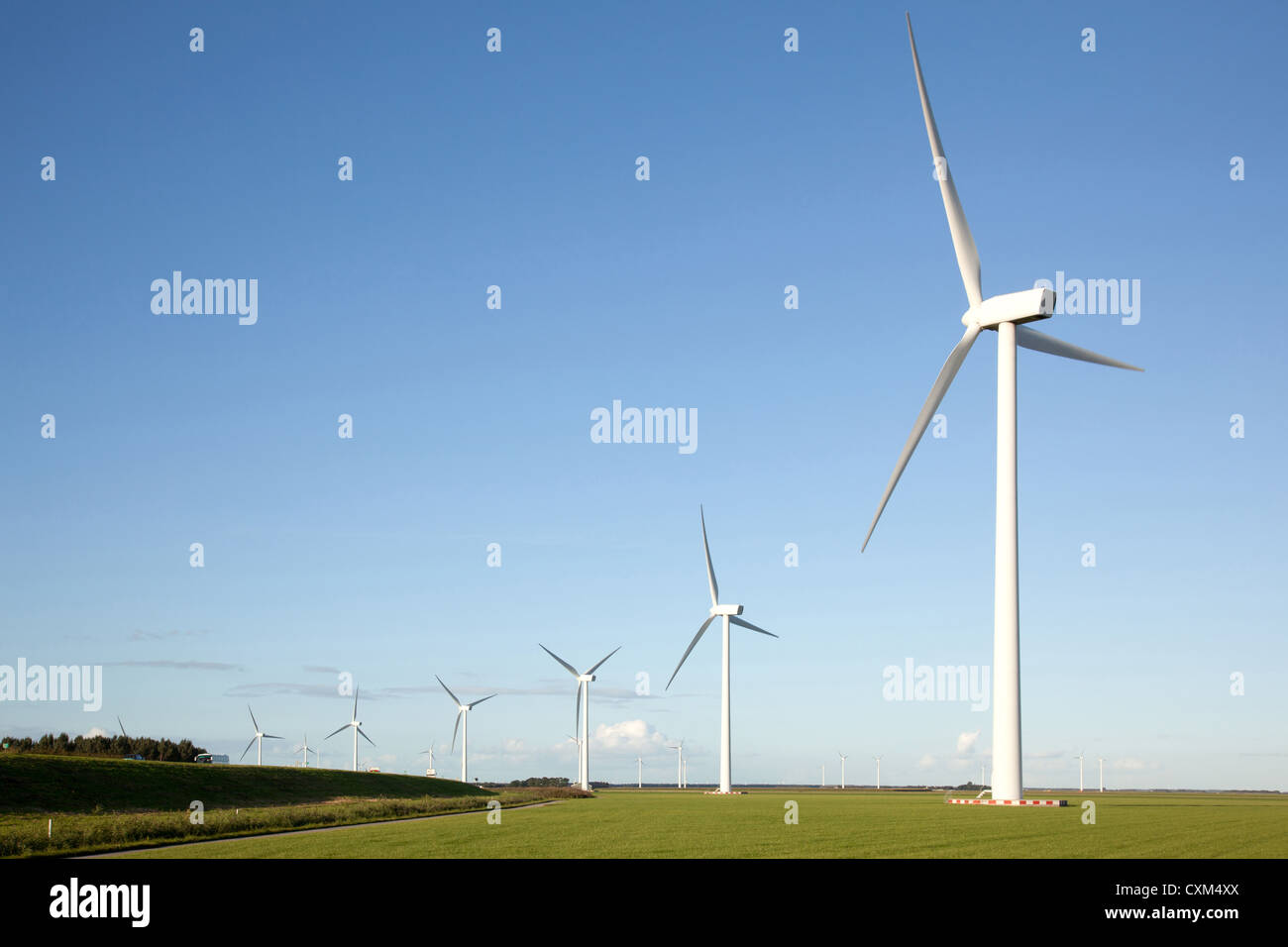 wind turbines in a row in the Dutch province of Flevoland - Stock Image