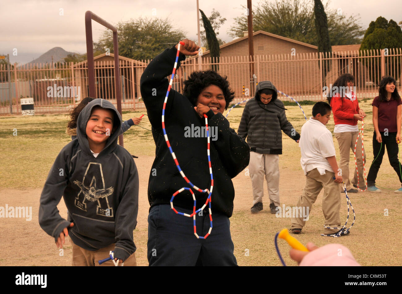 5th-graders participate in Jump Rope For Heart, a fund raising and fitness program, during Wellness Week in Tucson, - Stock Image
