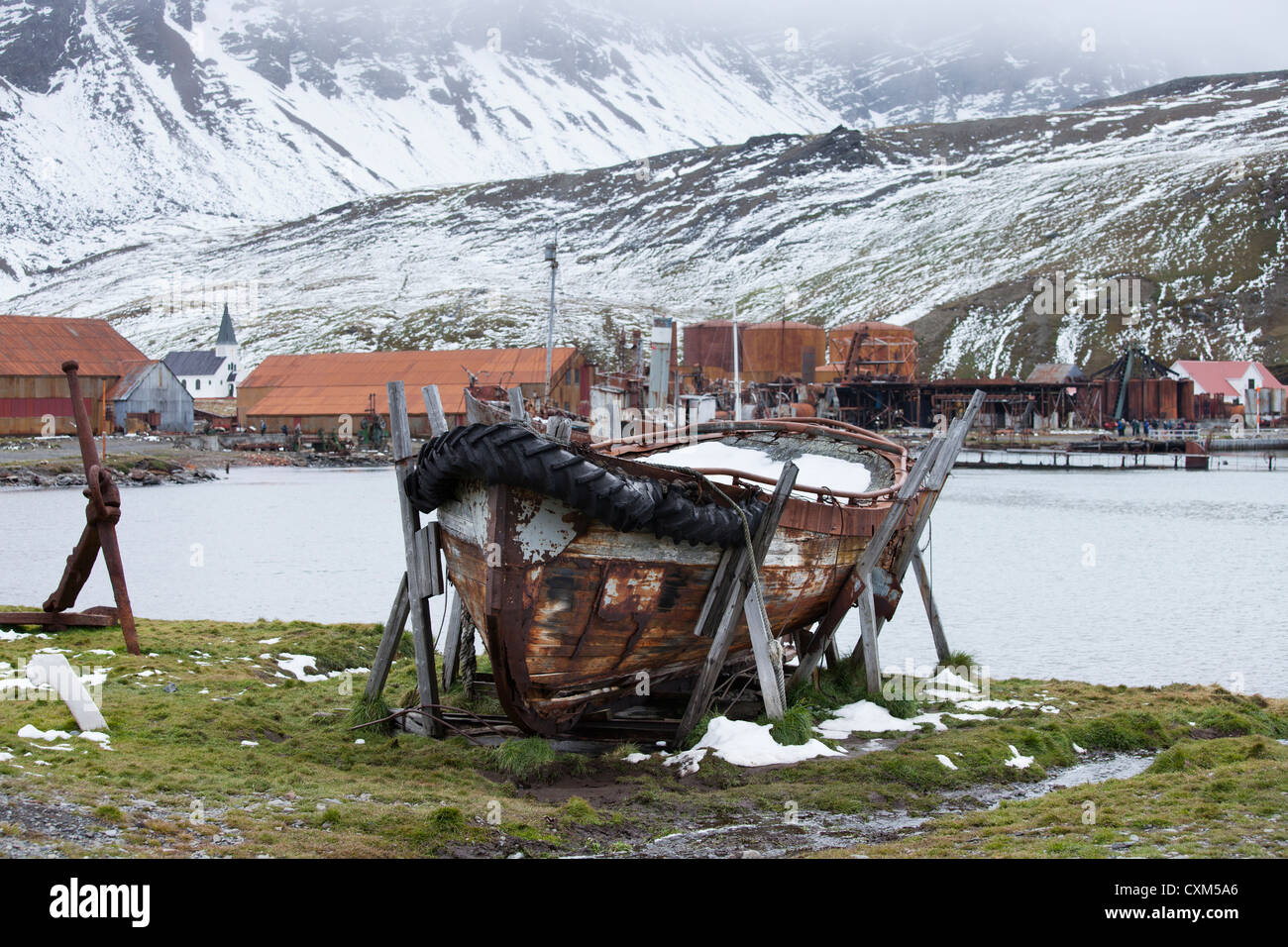 Derelict whaling boat at Grytviken, South Georgia Island. - Stock Image
