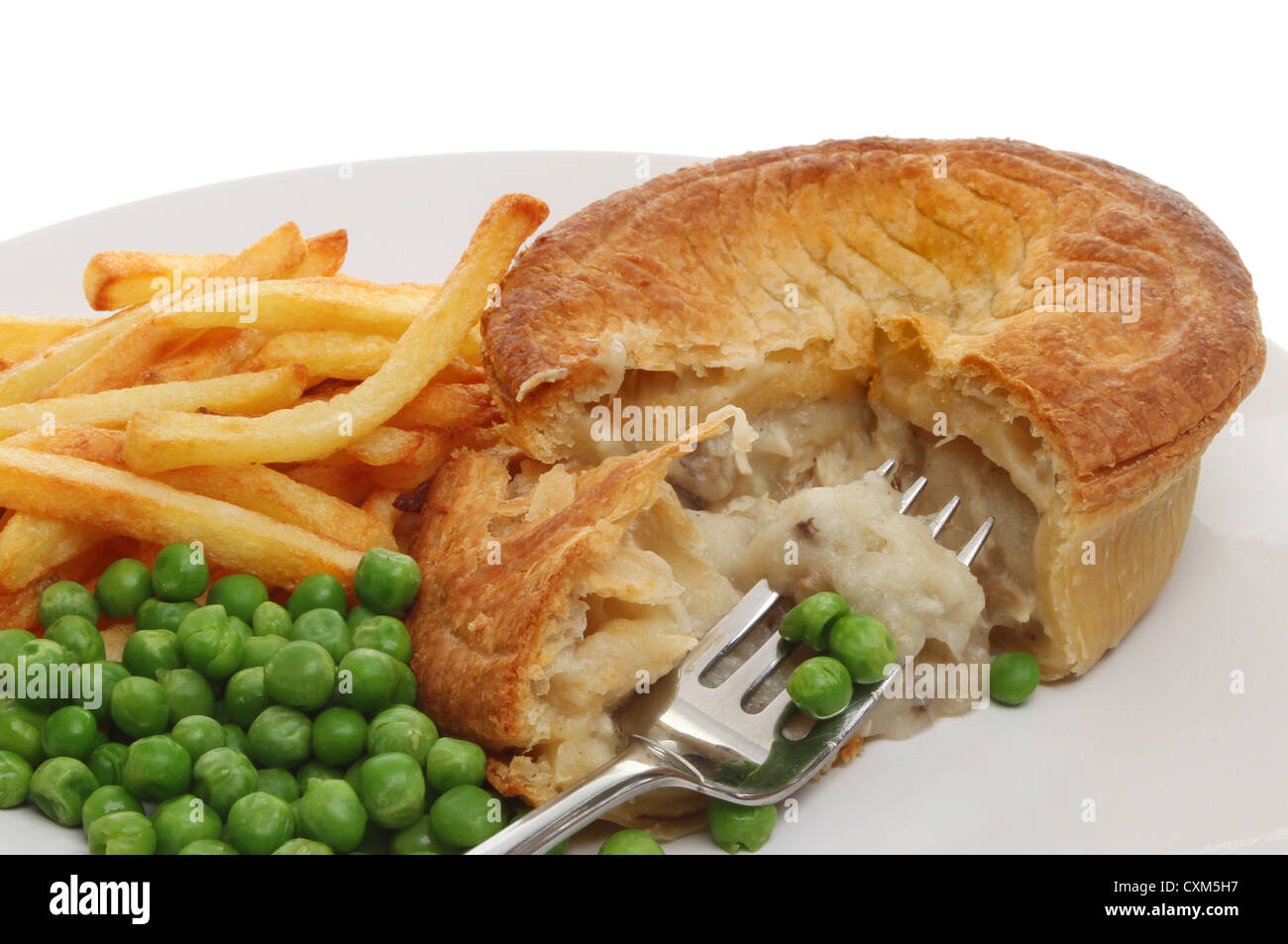 Closeup of a chicken pie chips and peas with a fork on a plate -  sc 1 st  Alamy & Chicken Chips Plate Stock Photos u0026 Chicken Chips Plate Stock Images ...
