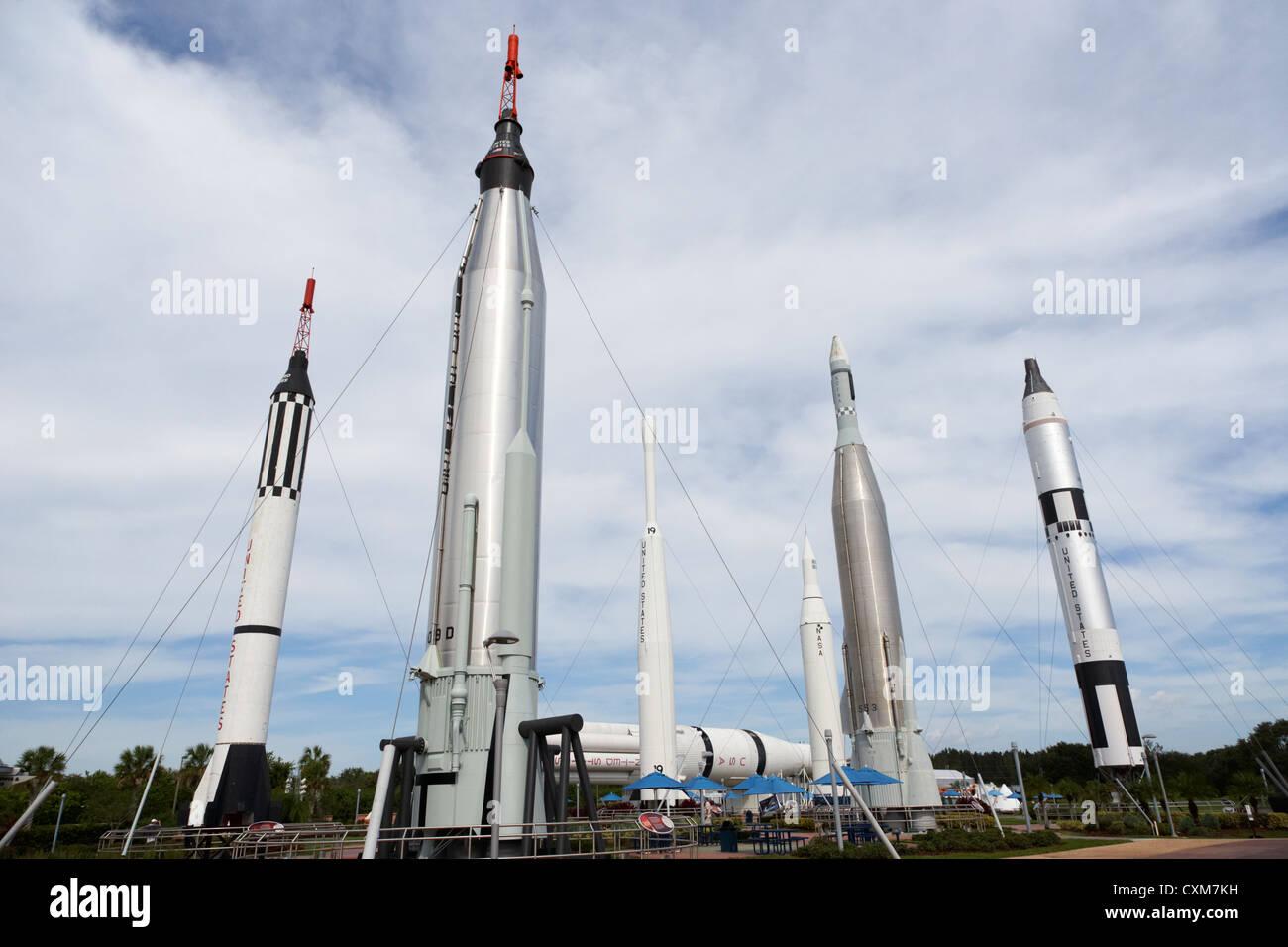 the rocket garden at Kennedy Space Center Florida USA - Stock Image