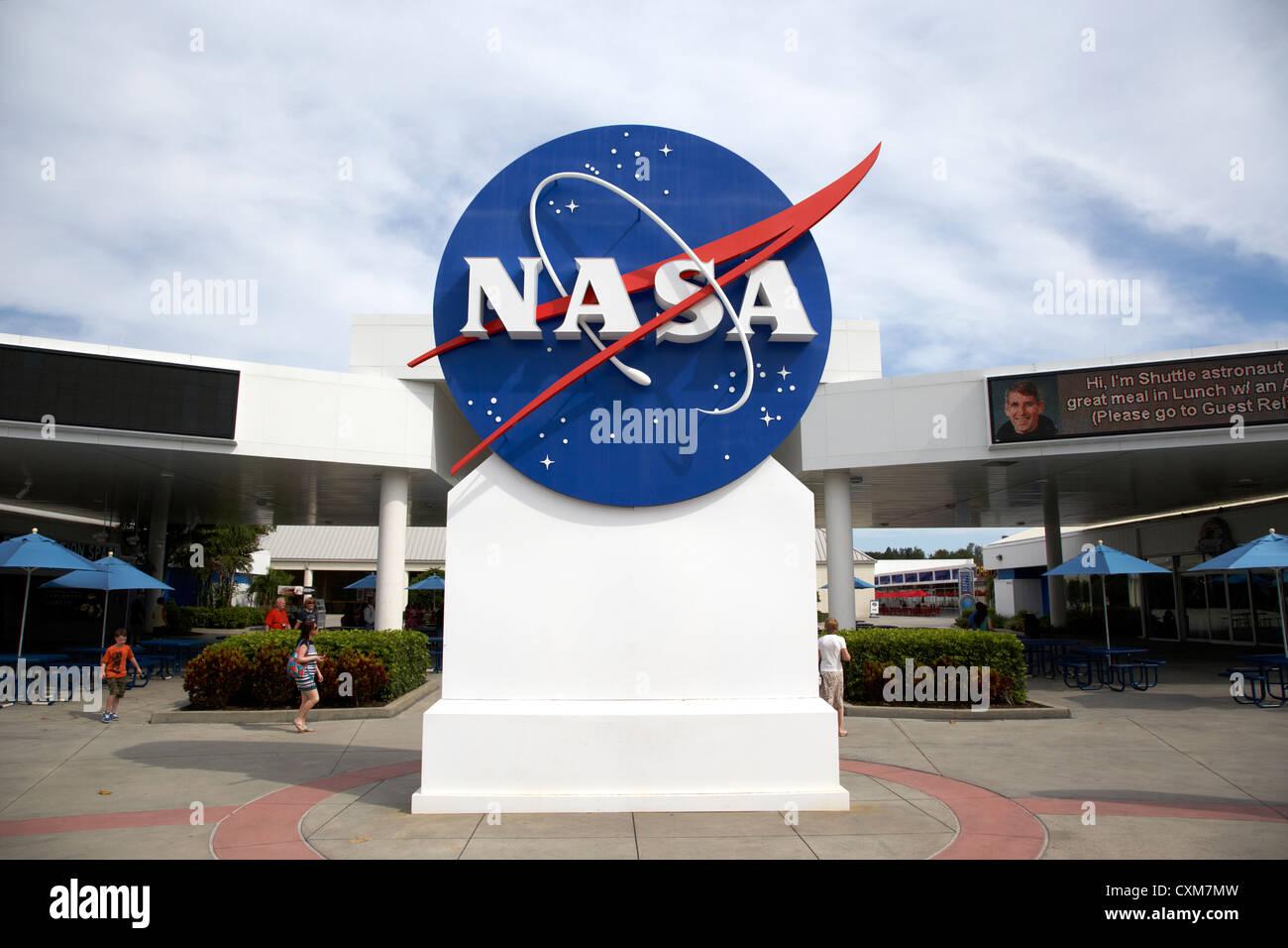 nasa logo emblem insignia at the Kennedy Space Center Florida USA - Stock Image