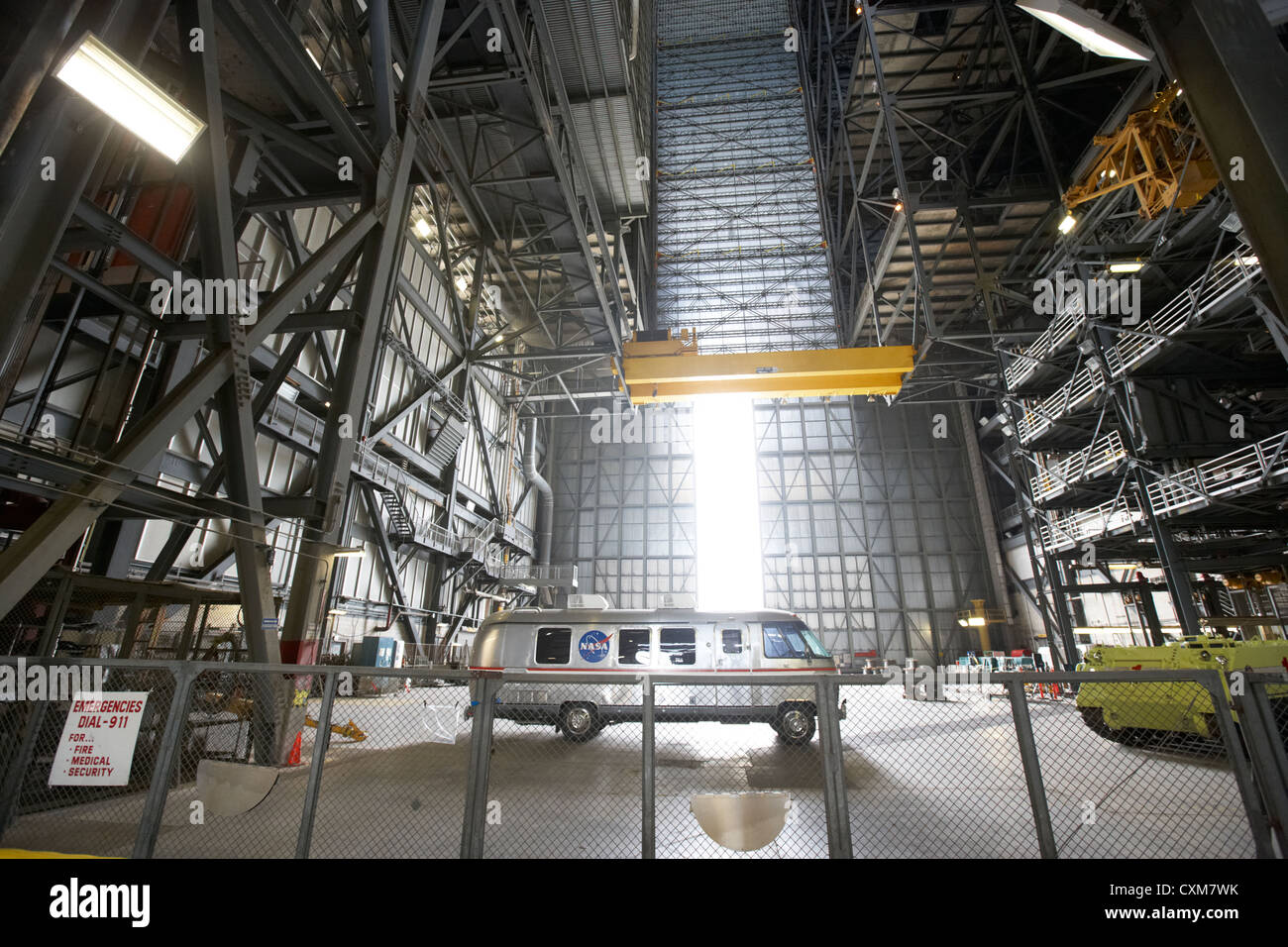 interior of the vehicle assembly building bay with nasa astrovan at the Kennedy Space Center Florida USA - Stock Image