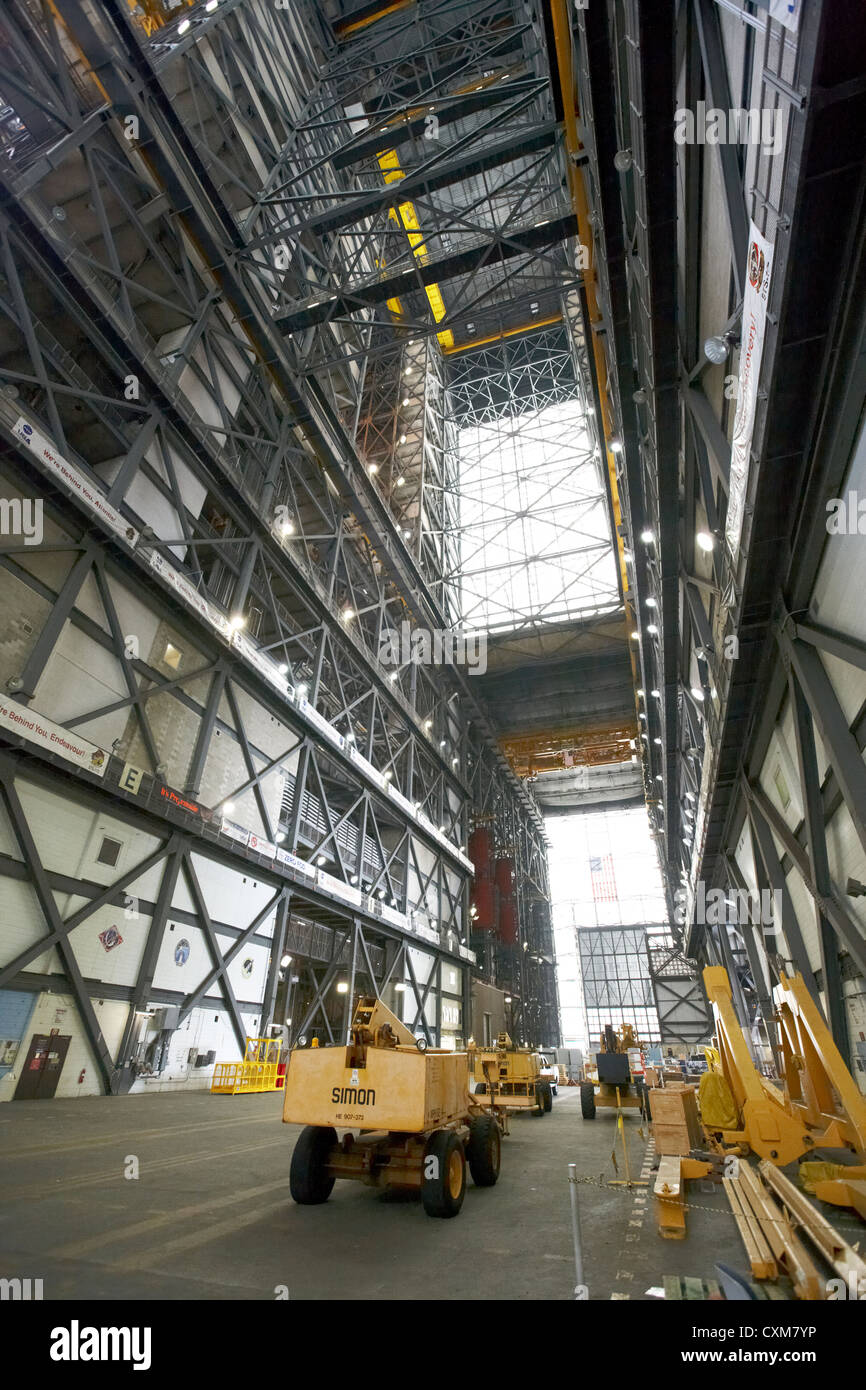 transfer aisle and interior of the vehicle assembly building Kennedy Space Center Florida USA - Stock Image