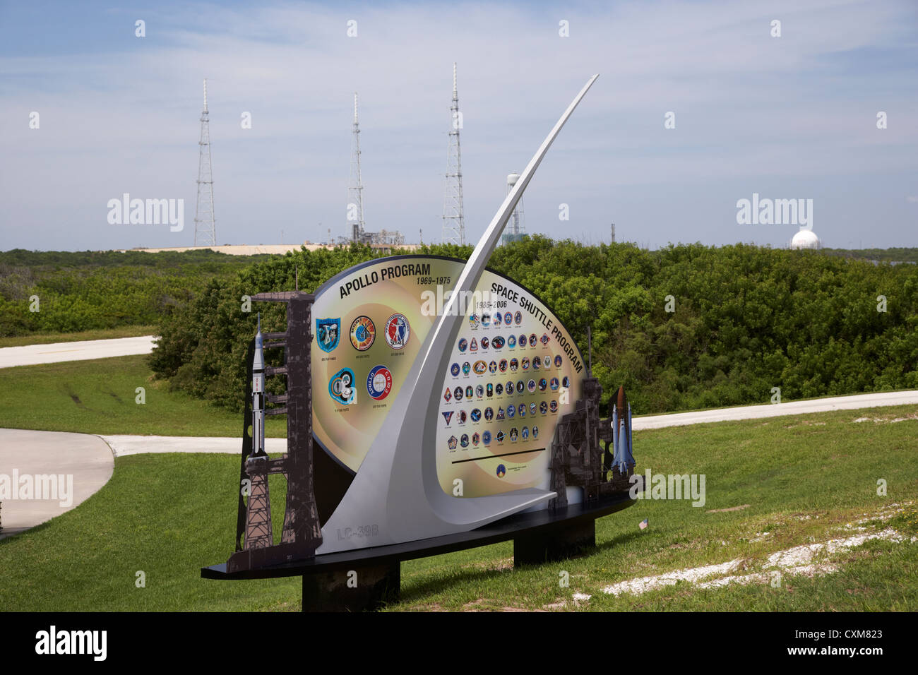 launch complex pad 39B with lightning conductors and display at the Kennedy Space Center Florida USA - Stock Image
