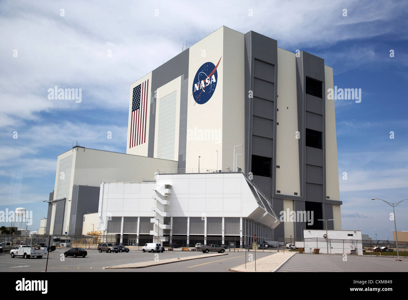 exterior of the vab vehicle assembly building and launch control center Kennedy Space Center Florida USA - Stock Image