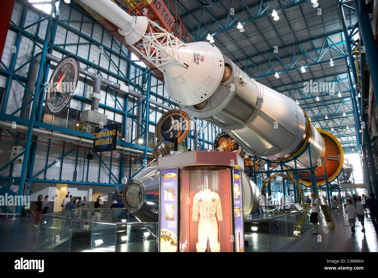 apollo command module on a saturn five rocket at the apollo saturn v center at Kennedy Space Center Florida USA - Stock Image