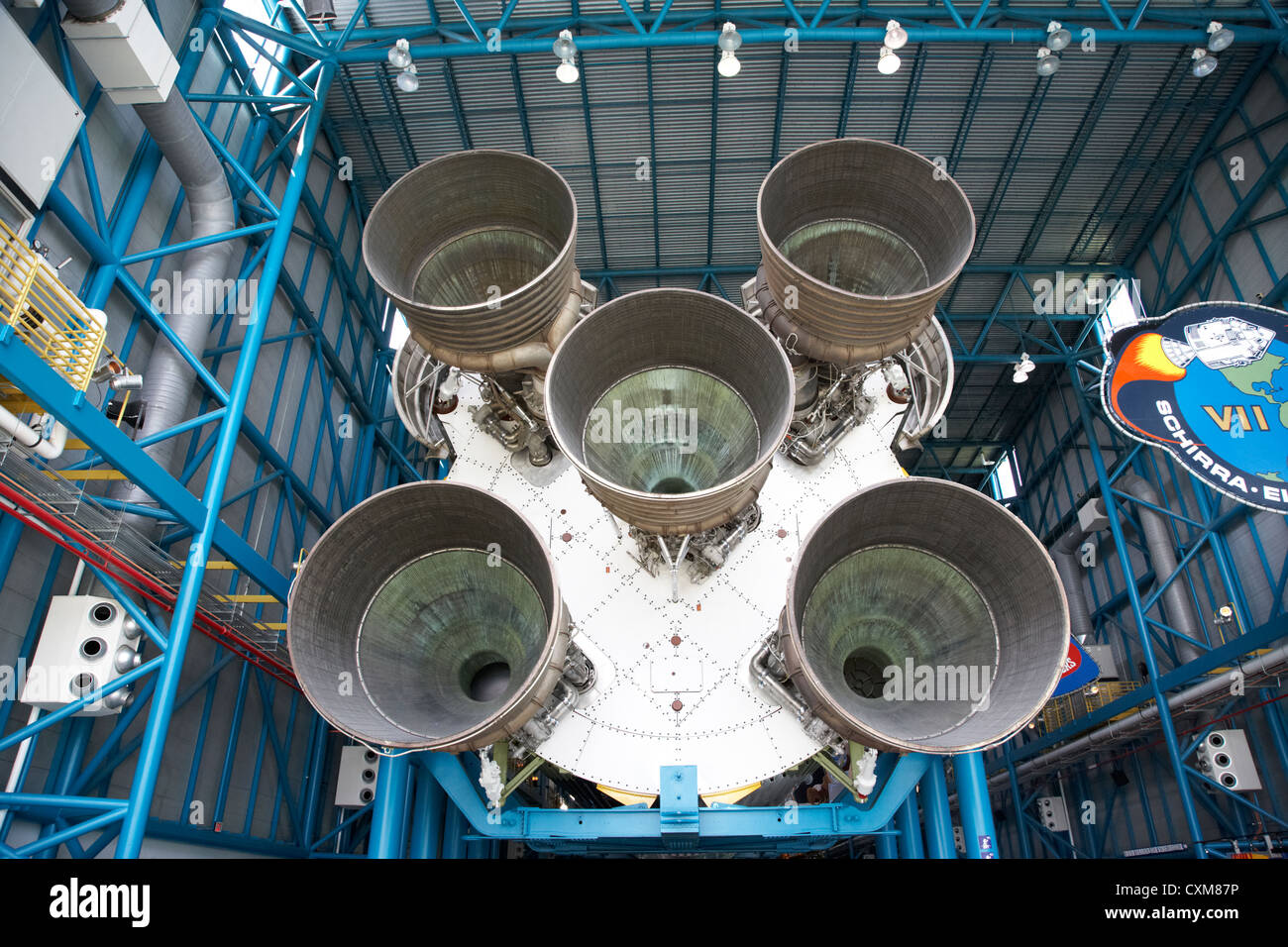rear view of engines of the saturn five rocket in the apollo saturn v center at Kennedy Space Center Florida USA - Stock Image