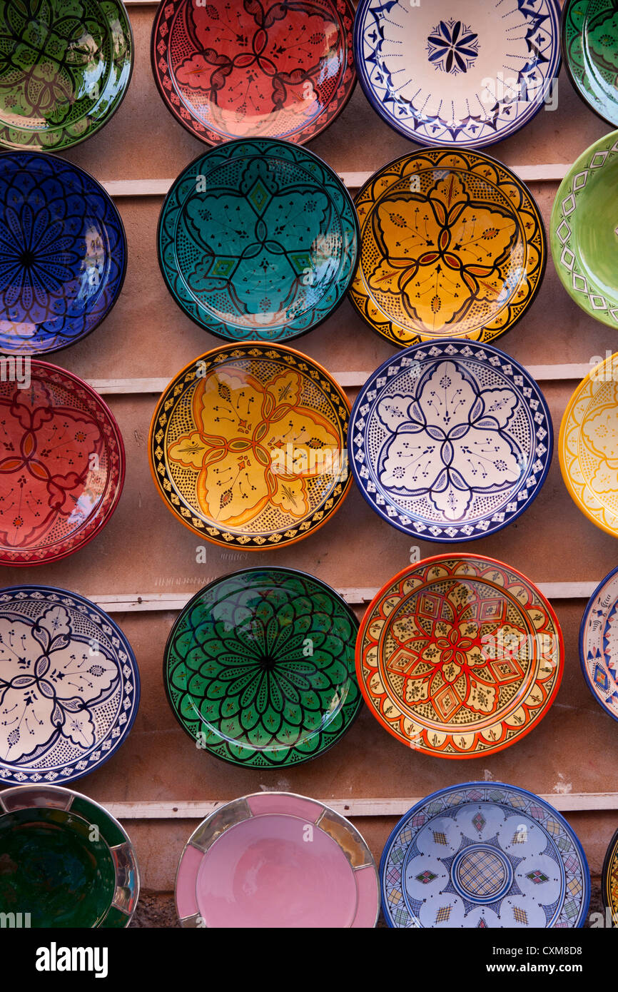 Painted and decorated plates on wall in Marrakech, Morocco Stock ...