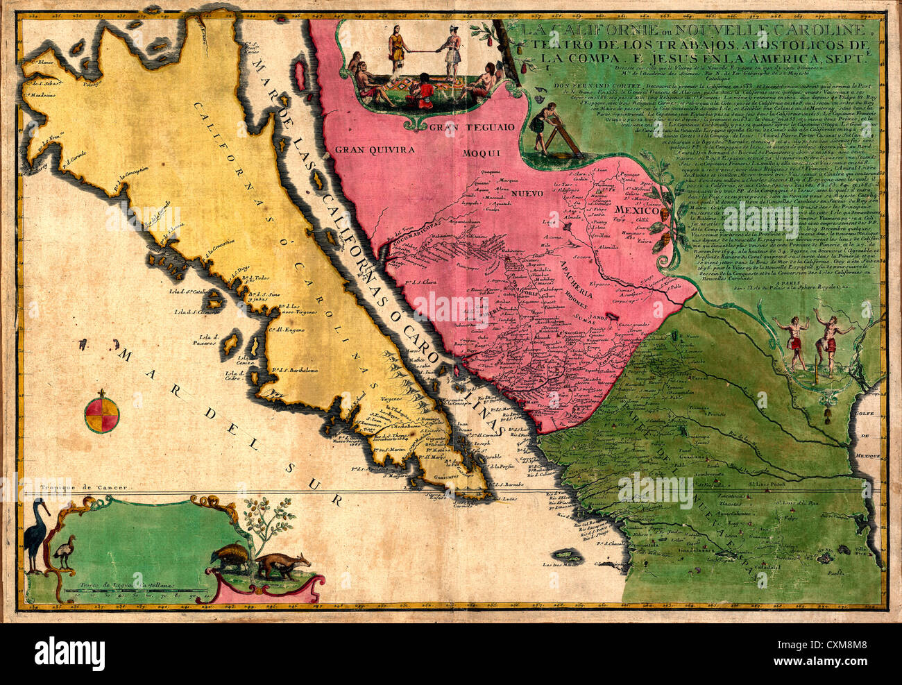 California or New Carolina - vintage map, circa 1720 - Stock Image