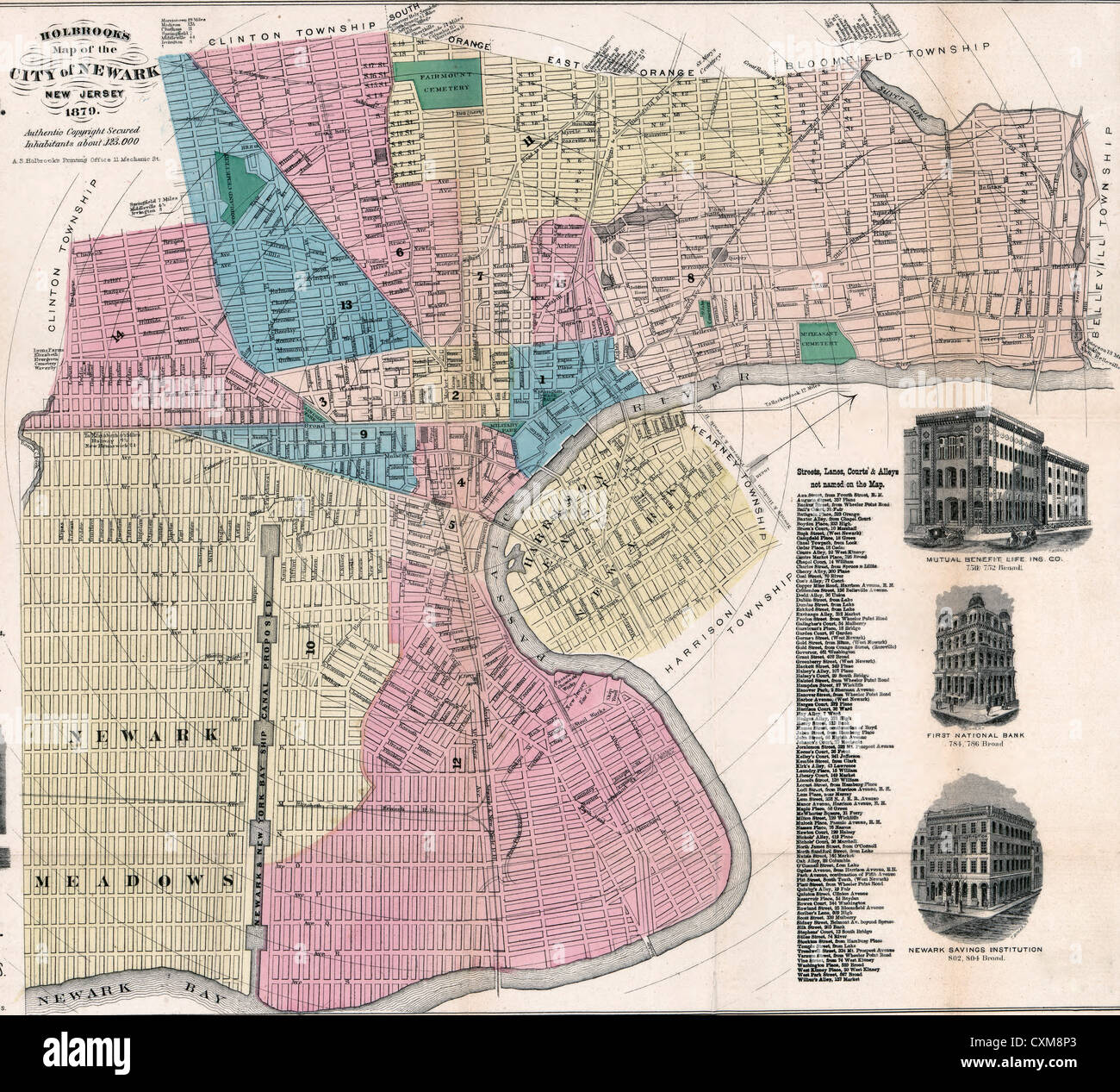 Holbrook's map of the city of Newark, New Jersey. 1879 - Stock Image