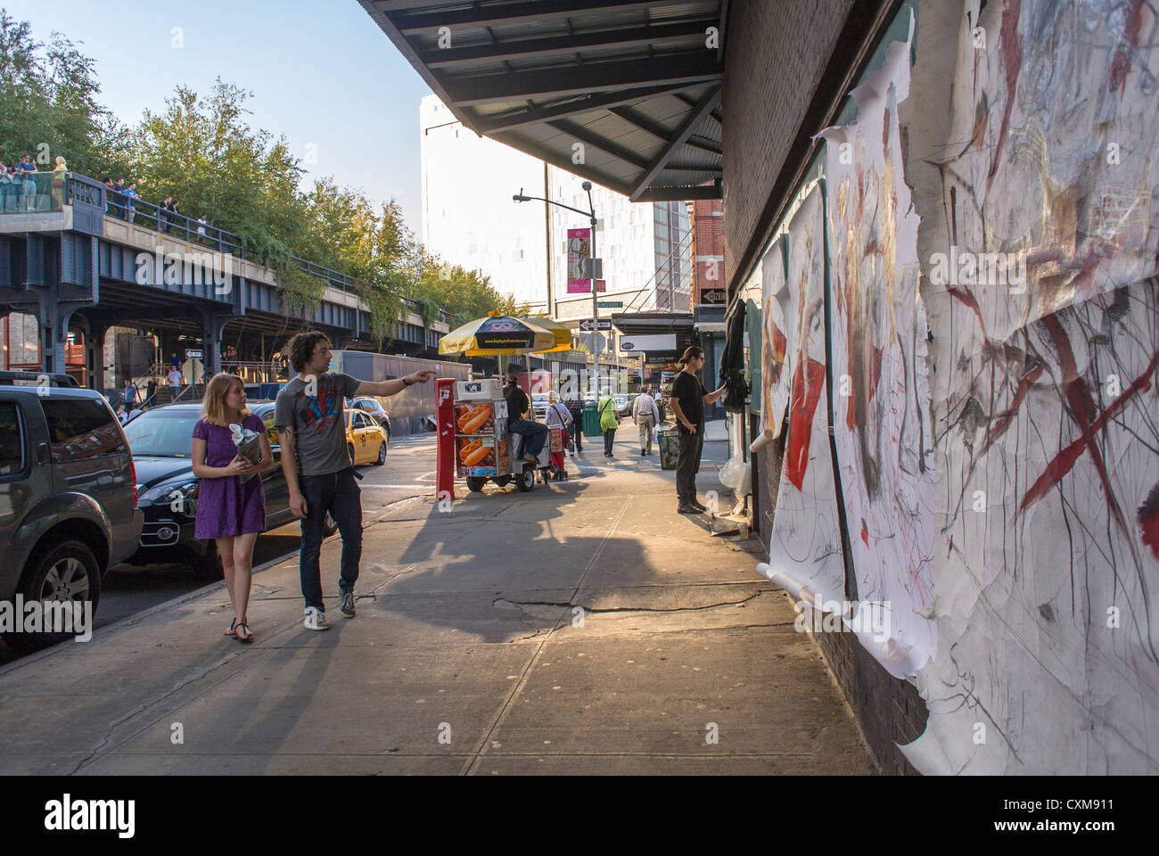 New York City, NY, USA, Street Artist Painting Wall, Scenes in the Meatpacking District, - Stock Image