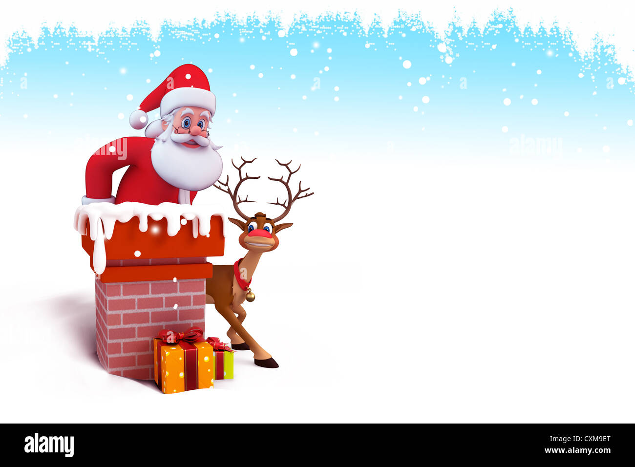 santa claus with reindeer and gifts on iceland Stock Photo: 50848304 ...