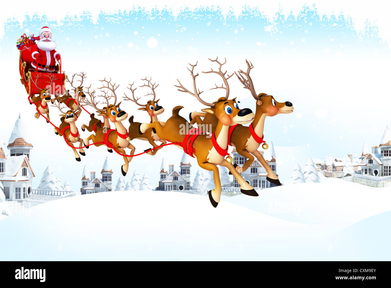 Santa Sleigh Reindeer Deer Gifts Iceland Blue Christmas Stock Photos ...