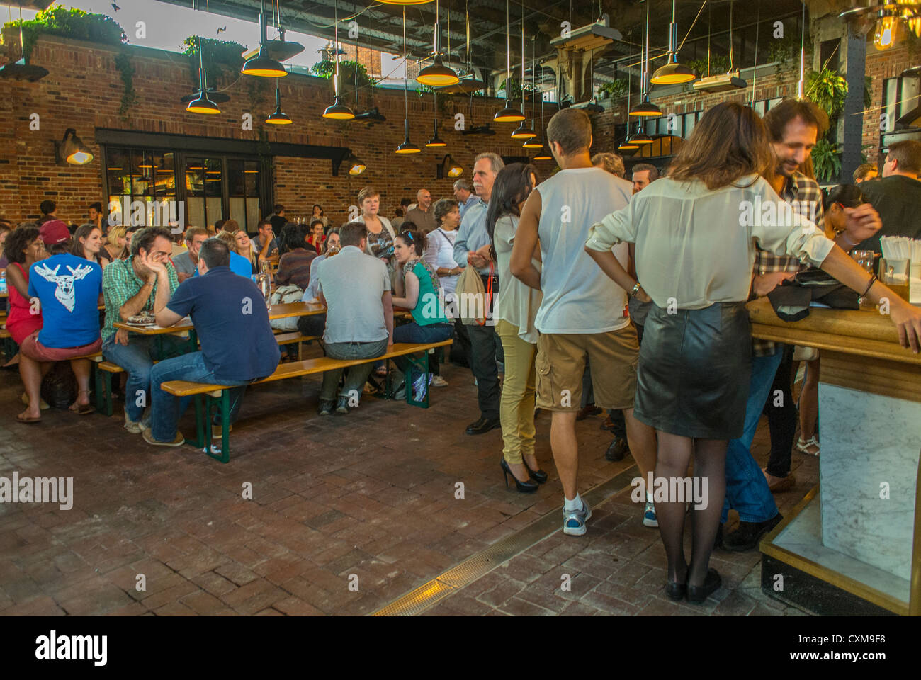New York City, NY, USA, People in the Beer Garden \