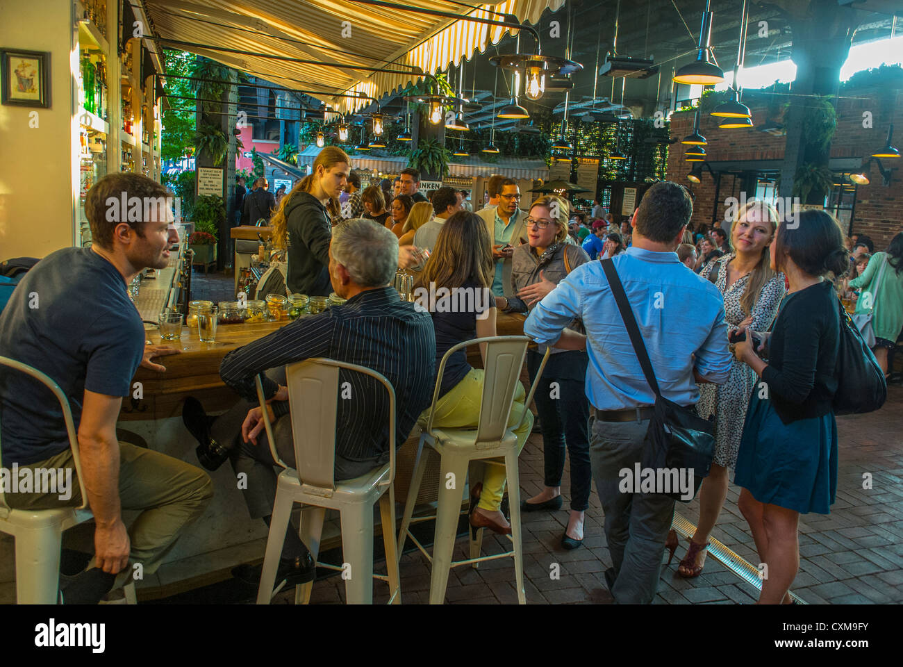 New York City, NY, USA, People in the Beer Garden, near the High ...