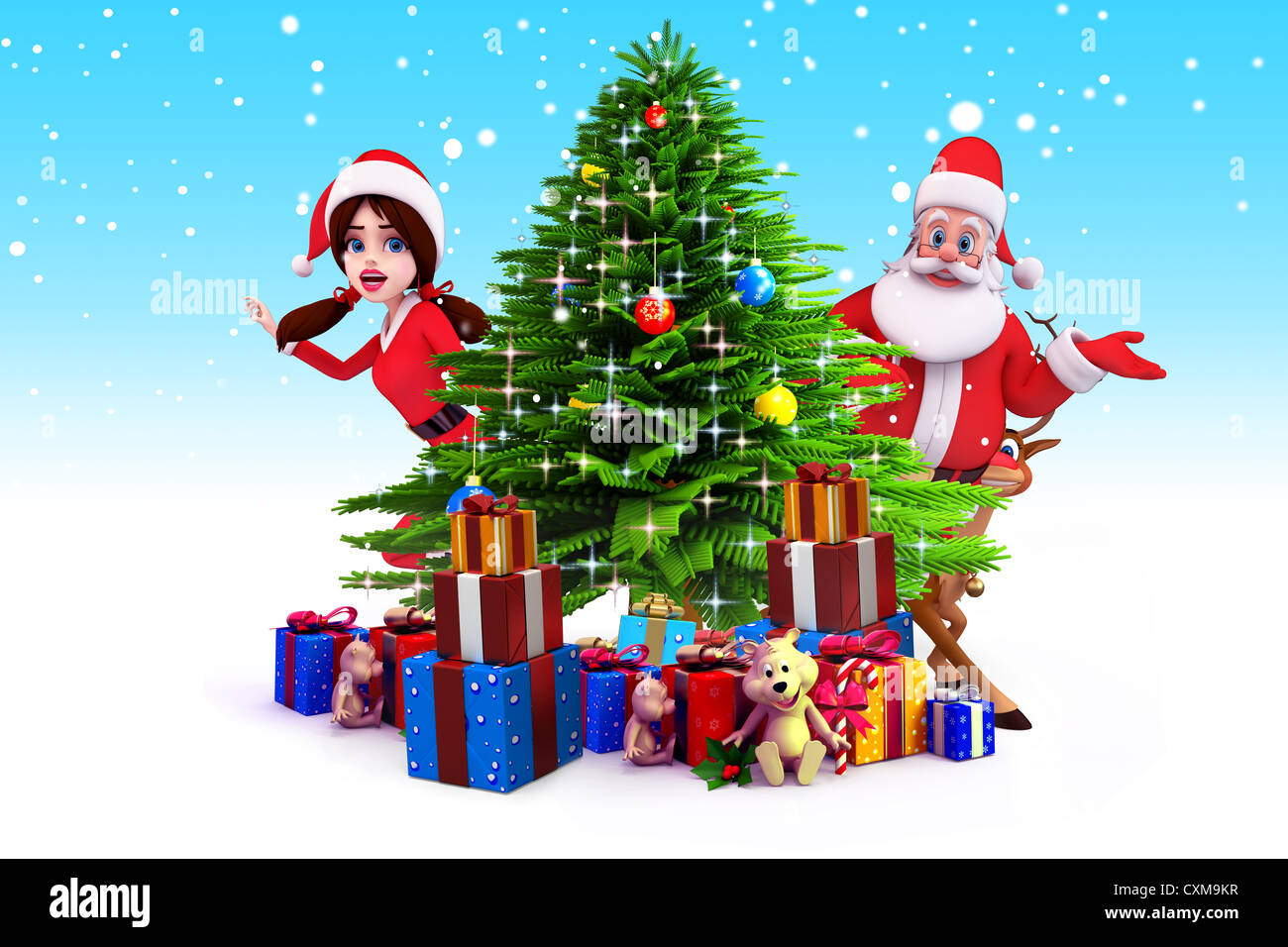 santa claus with christmas tree in iceland stock image