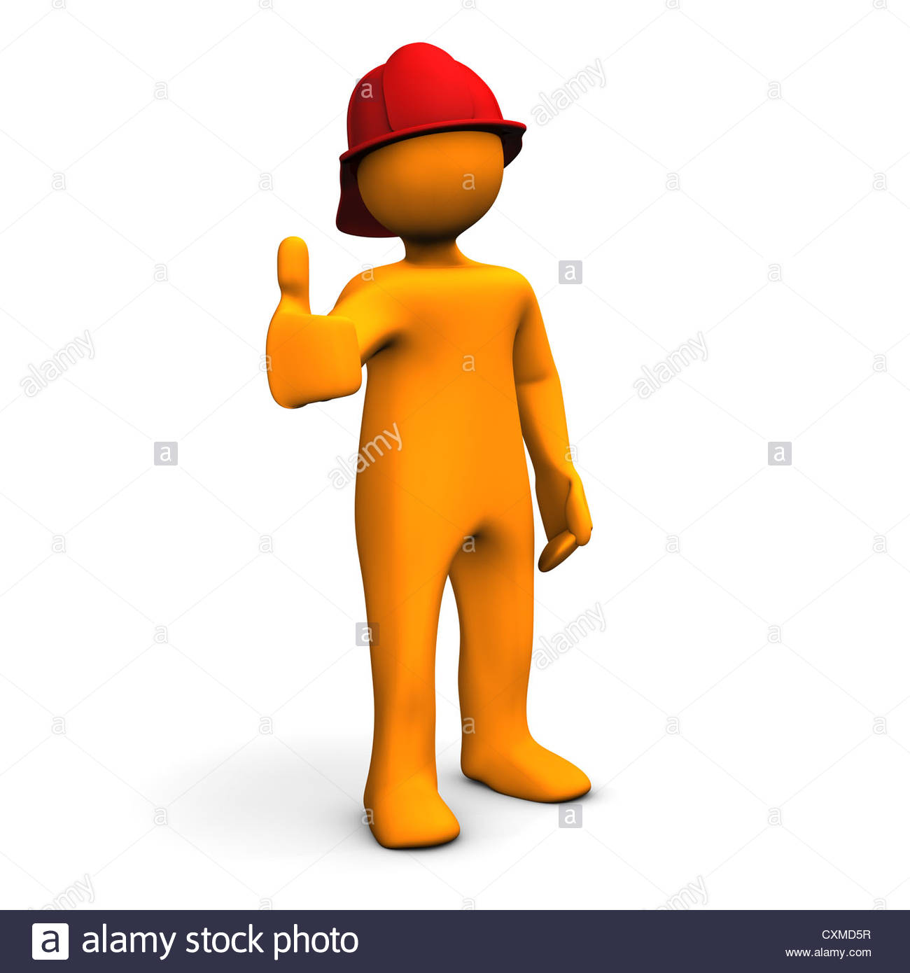 Orange cartoon character as fireman with OK symbol. White background ... ad8b4ba3c36f
