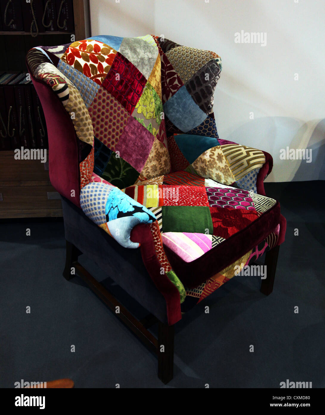 Patchwork upholstered wing chair on sale at the Irish Antique Dealers 47th  Annual Fair, Dublin, Ireland - Patchwork Upholstered Wing Chair On Sale At The Irish Antique