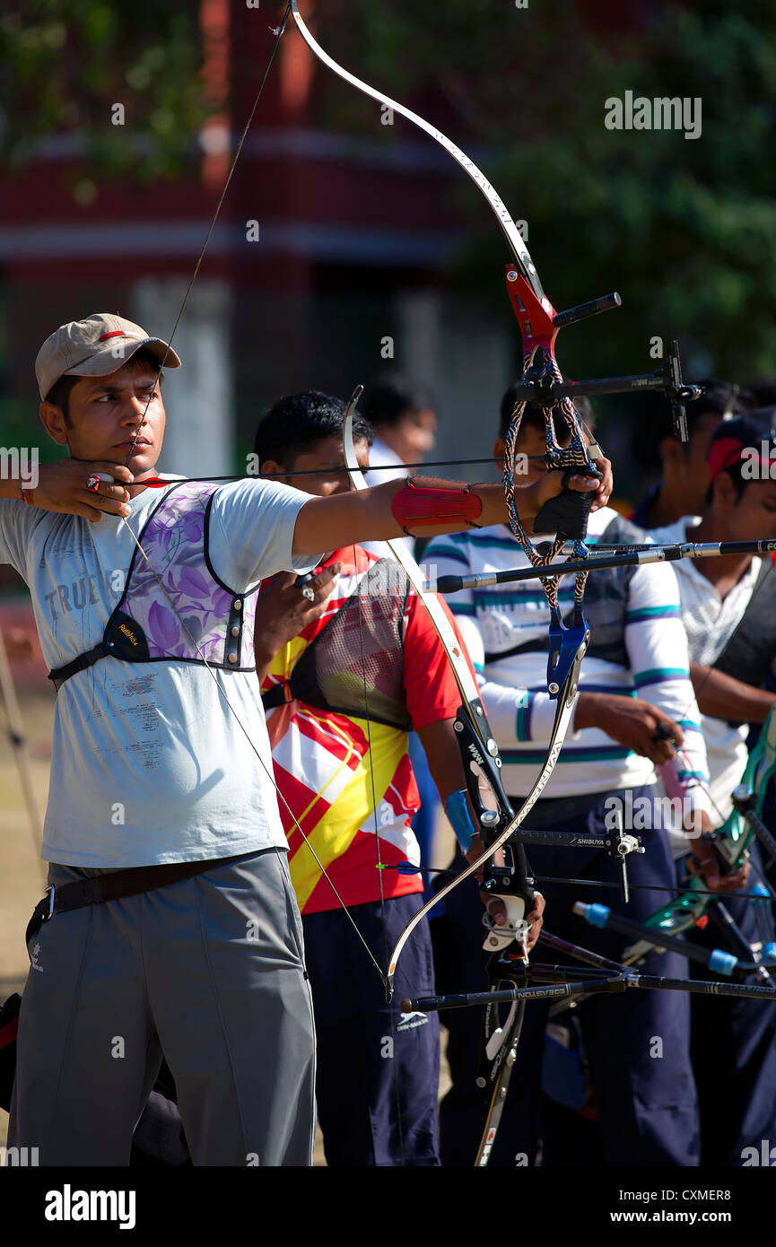 A group of Athlete compete in the national sport of archery - Stock Image