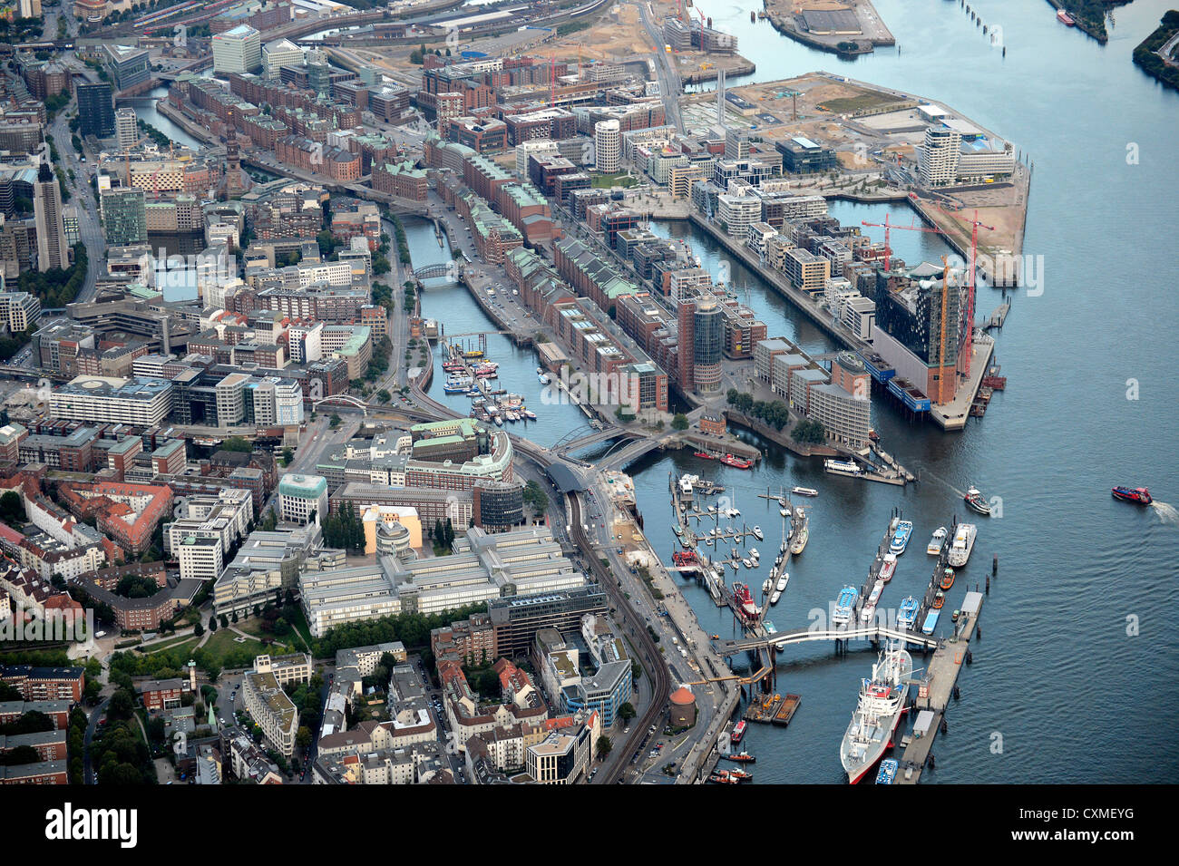 Aerial view, General view at the Philharmonic Hall, the old warehouse district 'Speicherstadt' and the new - Stock Image