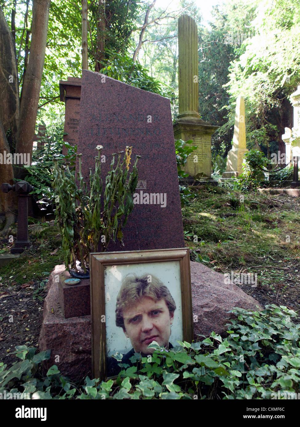 The grave of the murdered Russian,Alexander Litvinenko,in Highgate Cemetery. - Stock Image