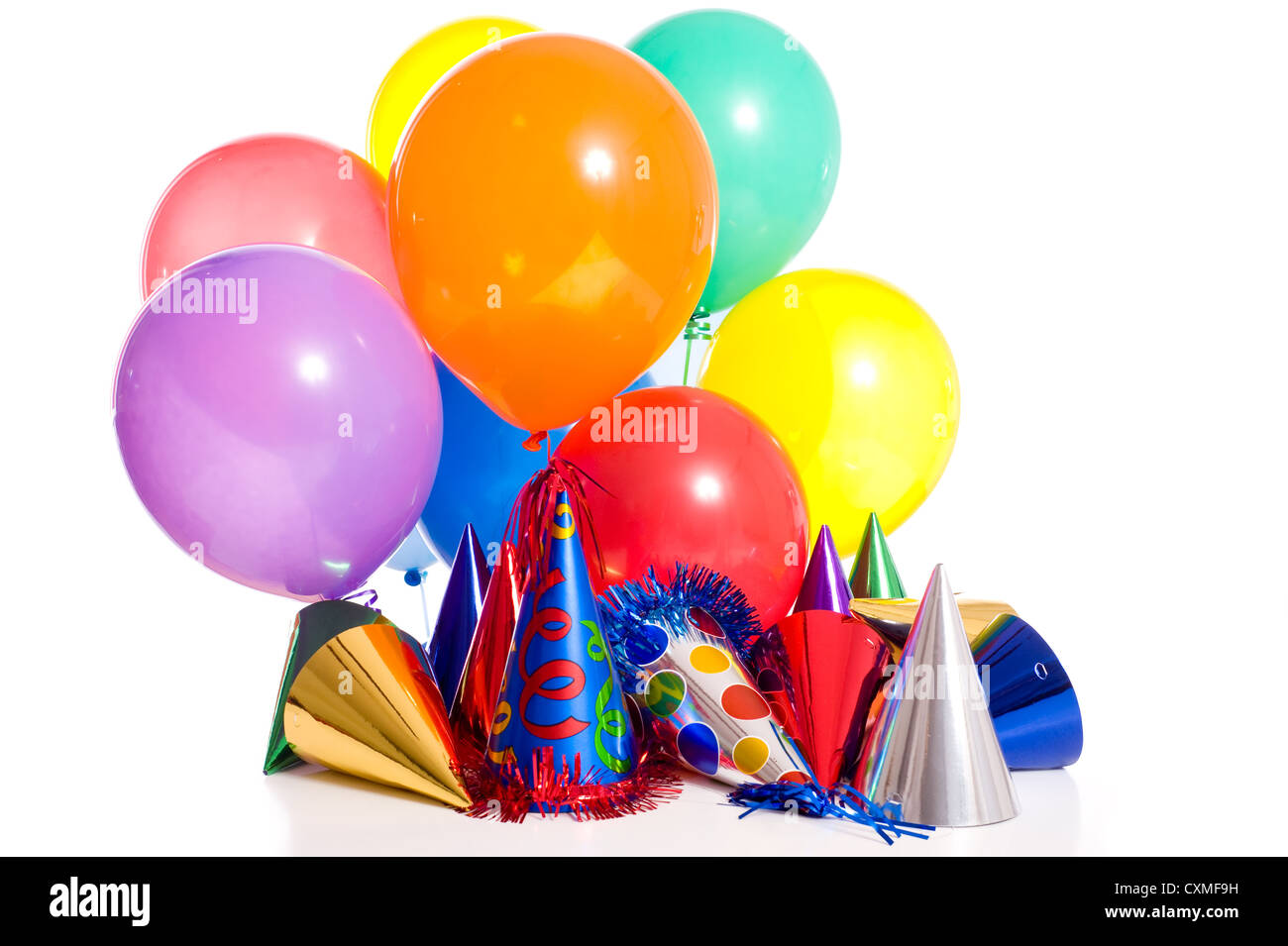 birthday party background with party hats floating balloons and