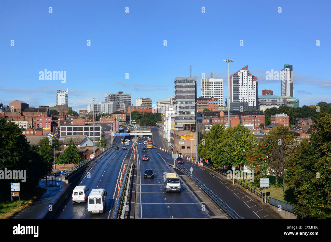 traffic heading too and from the city of leeds yorkshire uk - Stock Image