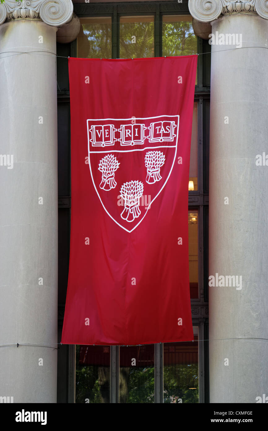 Cambridge, MA, USA - May 25, 2011: Harvard Law School's crest at Langdell Law Library at Commencement 2011 on - Stock Image