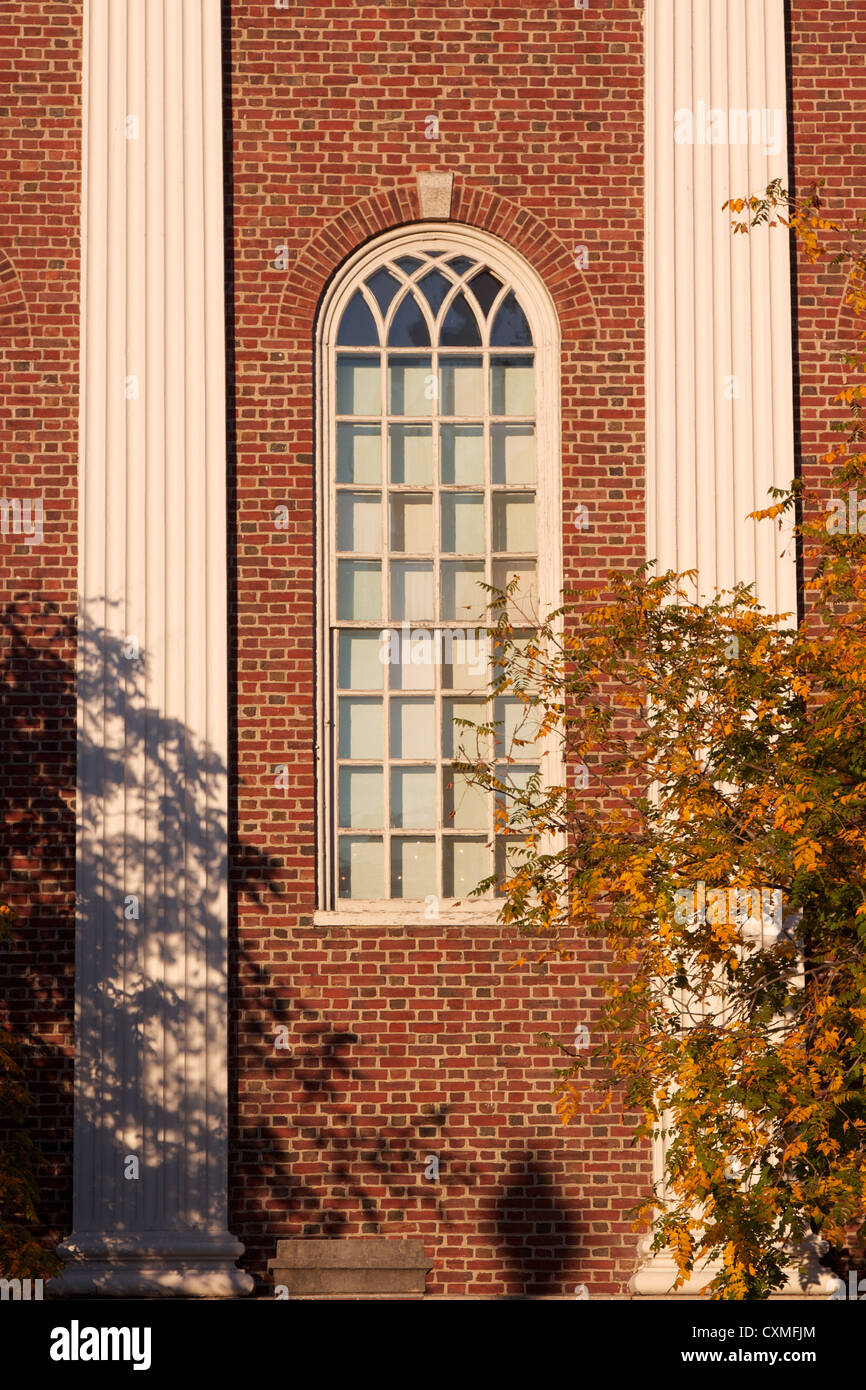 Window at a typical red brick hall at Harvard University in Cambridge, MA, USA. - Stock Image