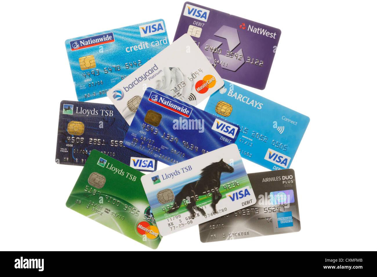 Various bankcards from Nationwide, Lloyds TSB and Nat West banks isolated on a white background. England UK Britain Stock Photo