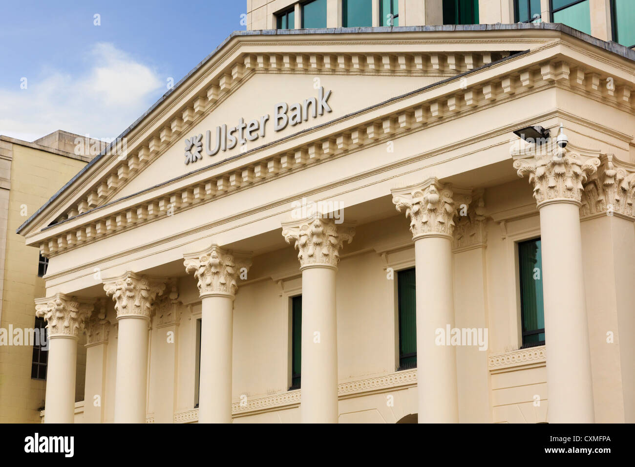 Ulster Bank building in Donegall Square, Belfast city, County Antrim, Northern Ireland, UK - Stock Image