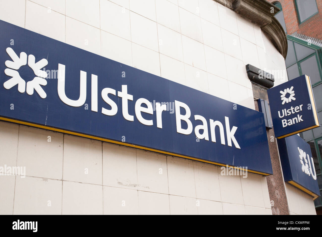 Ulster Bank sign with RBS logo in the city centre of Belfast, County Antrim, Northern Ireland, UK - Stock Image
