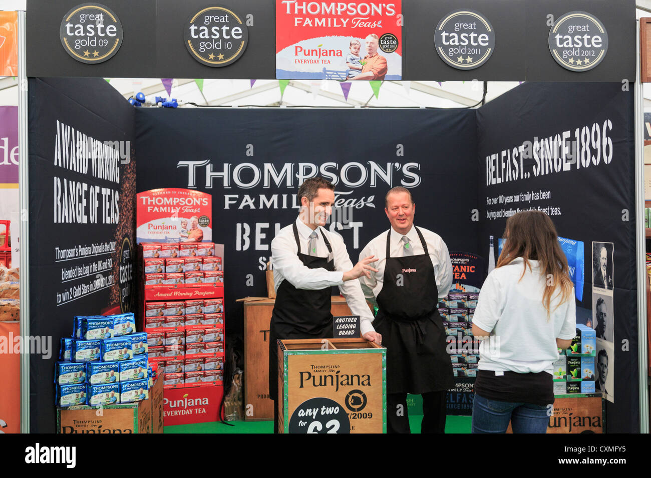 Stall selling Thompson's Family Teas at the food festival in Belfast, Co Antrim, Northern Ireland, UK. - Stock Image