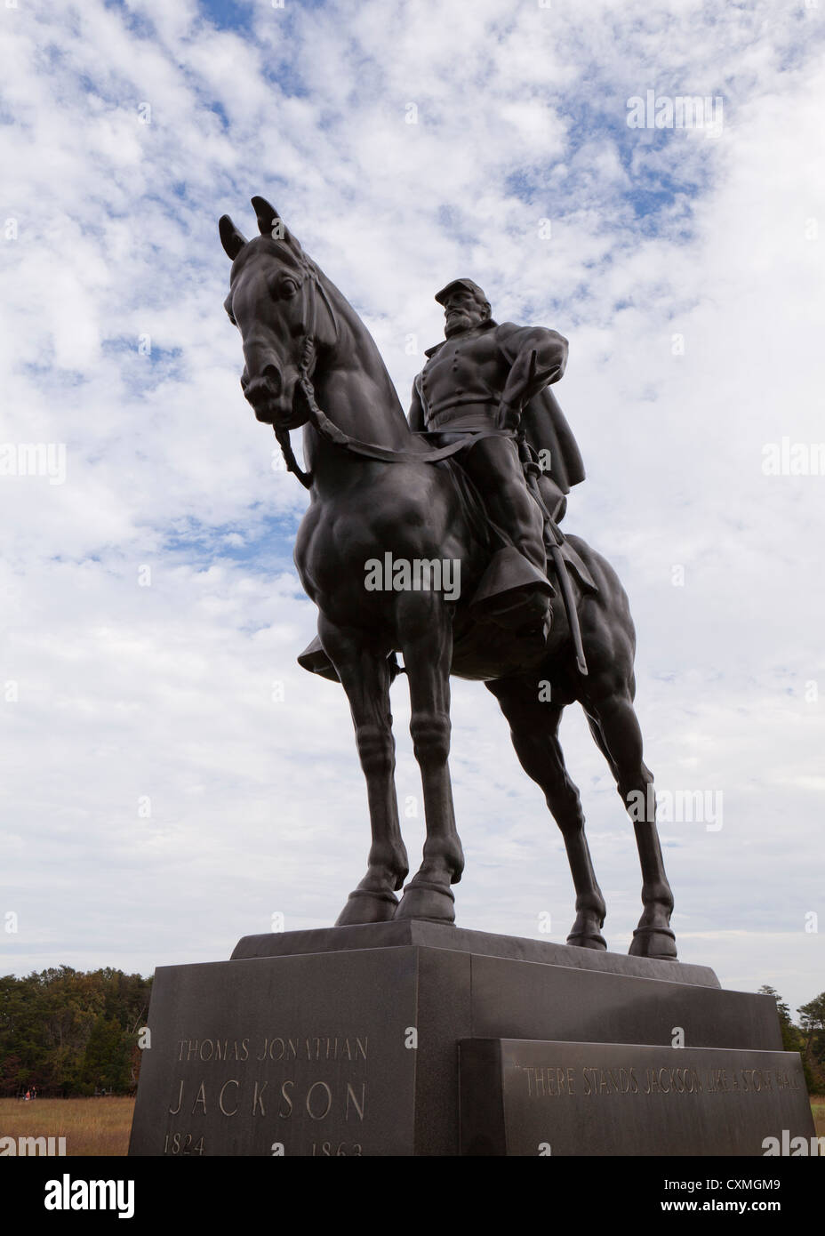 General Thomas 'Stonewall' Jackson statue at Manassas National Battlefield Park - USA - Stock Image