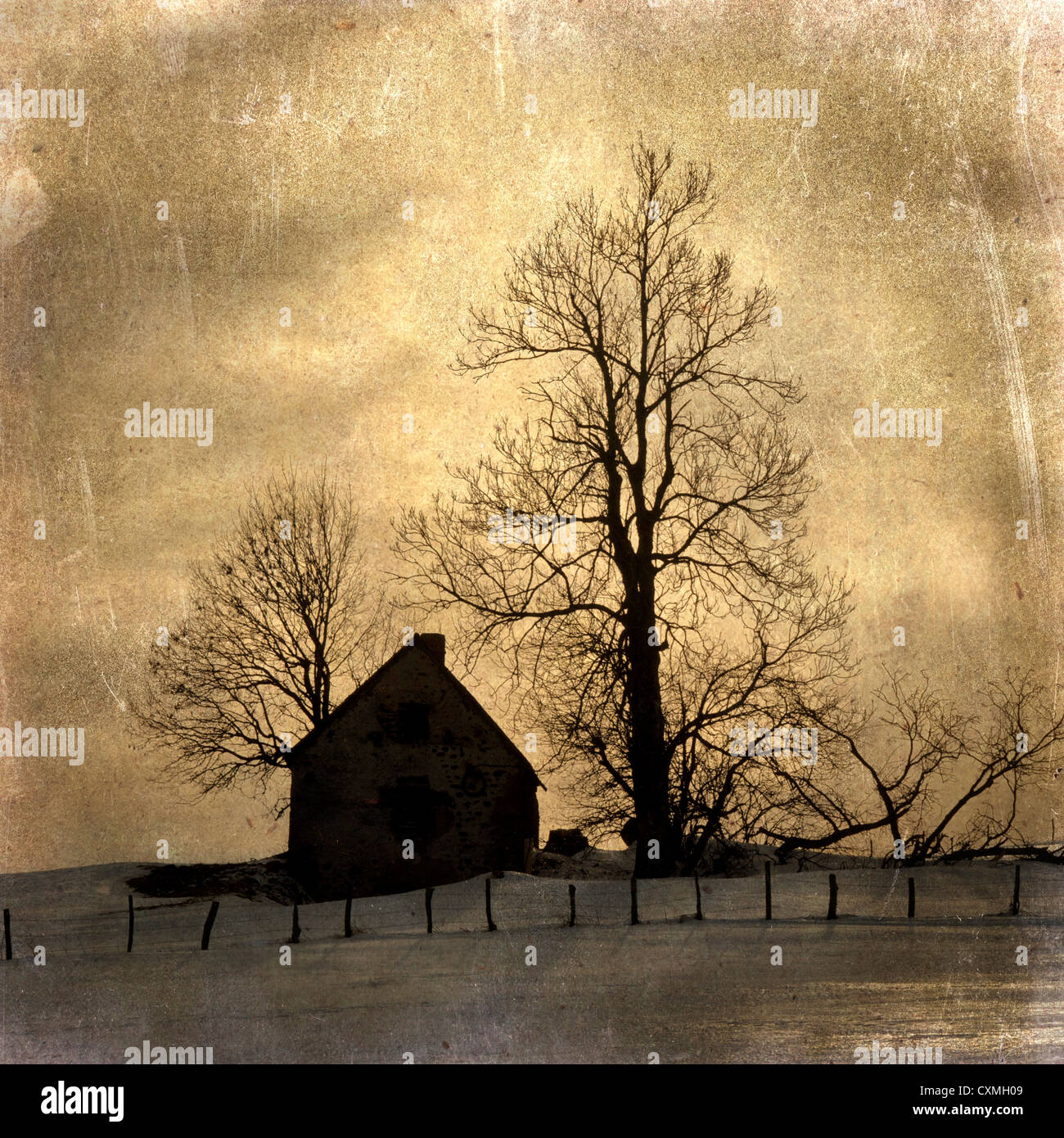 Farmhouse / house - vintage-look - textured art effect image - Stock Image