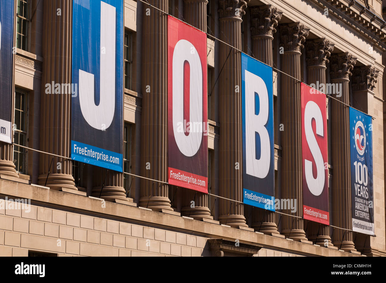 Large JOBS banner on US Chamber Of Commerce Building - Washington, DC USA - Stock Image