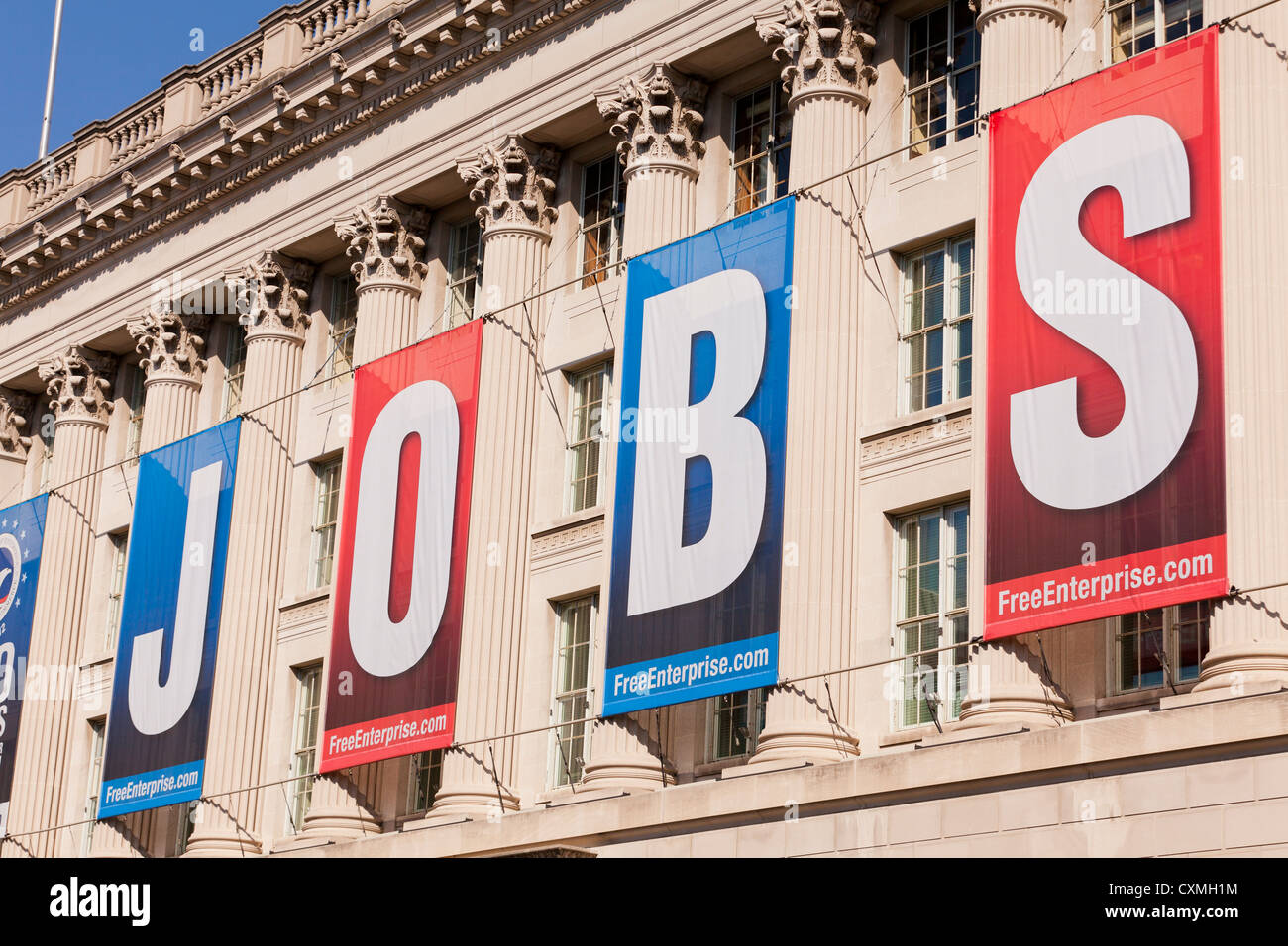 Large JOBS banner on US Chamber Of Commerce Building - Washington, DC USA - Stock Image