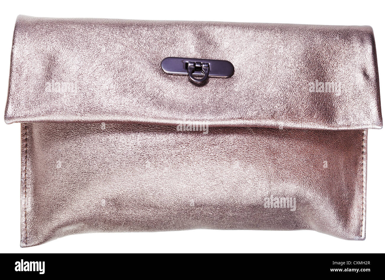 fd769569 golden leather clutch bag isolated on white background - Stock Image