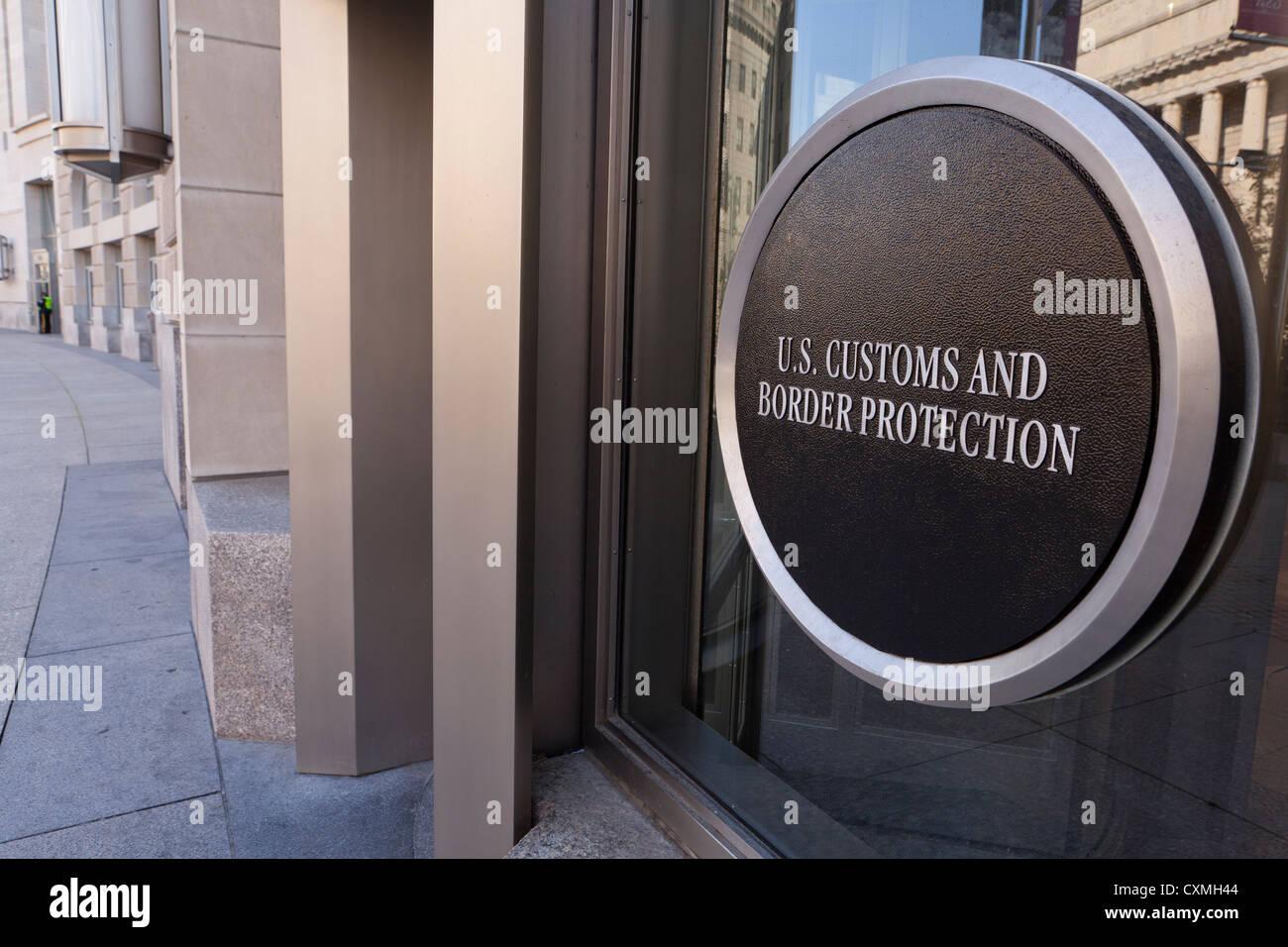 US Customs and Border Protection building entrance sign - Washington, DC USA - Stock Image