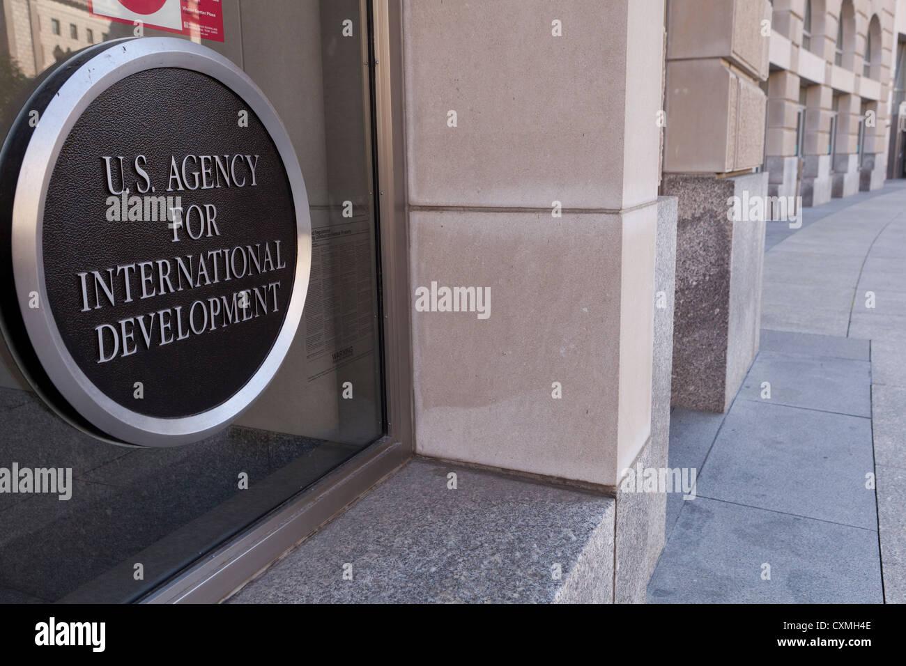 US Agency For International Development building entrance sign - Washington, DC USA - Stock Image