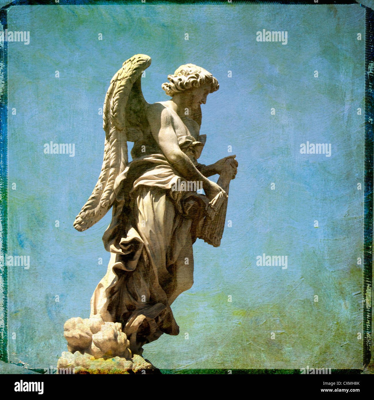 Angel on Ponte Sant'Angelo, Saint Angel bridge, Rome - textured art effect image - Stock Image
