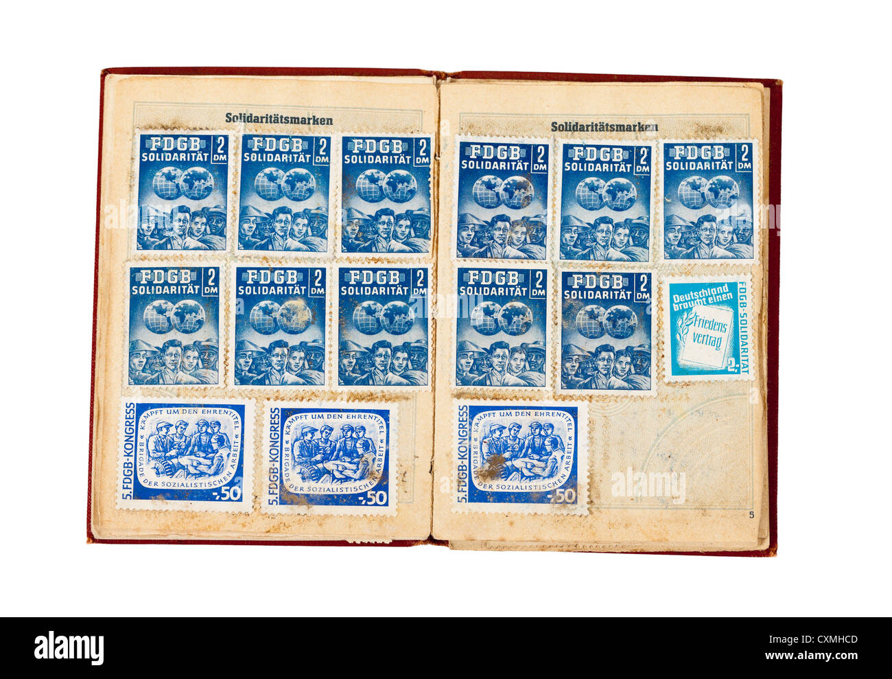 Union card of the former GDR (German Federation of Trade Unions) - Stock Image
