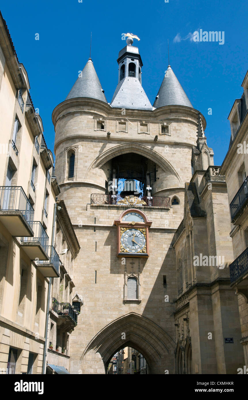 Bell tower, the Grosse Cloche, Bordeaux, France, Europe Stock Photo