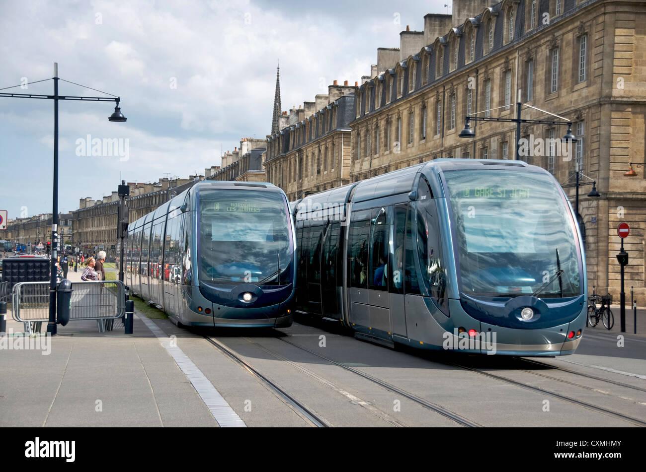 Public transport tram system in old Bordeaux, France, Europe - Stock Image